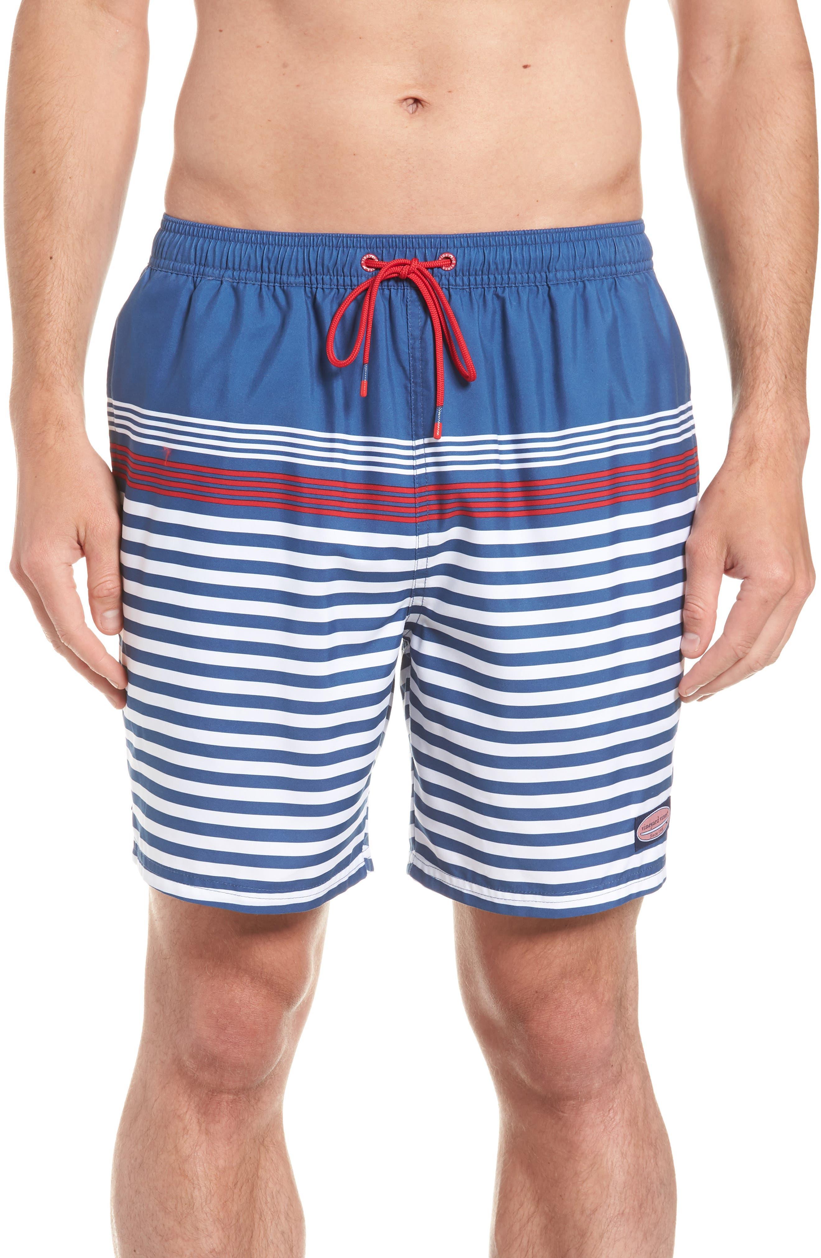 Chappy Summerall Stripe Swim Trunks,                             Main thumbnail 1, color,                             MOONSHINE