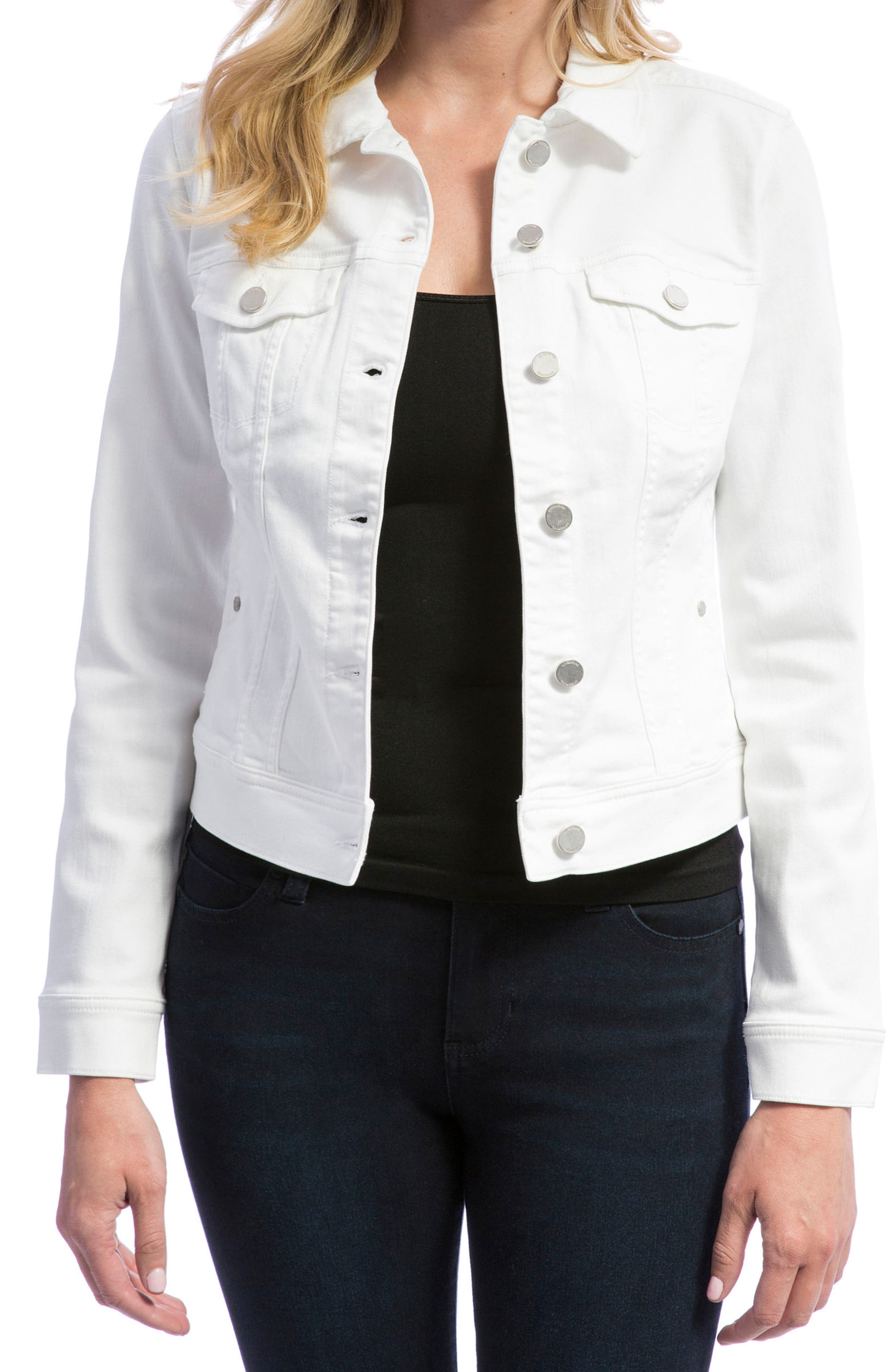 Denim Jacket,                             Main thumbnail 1, color,                             BRIGHT WHITE