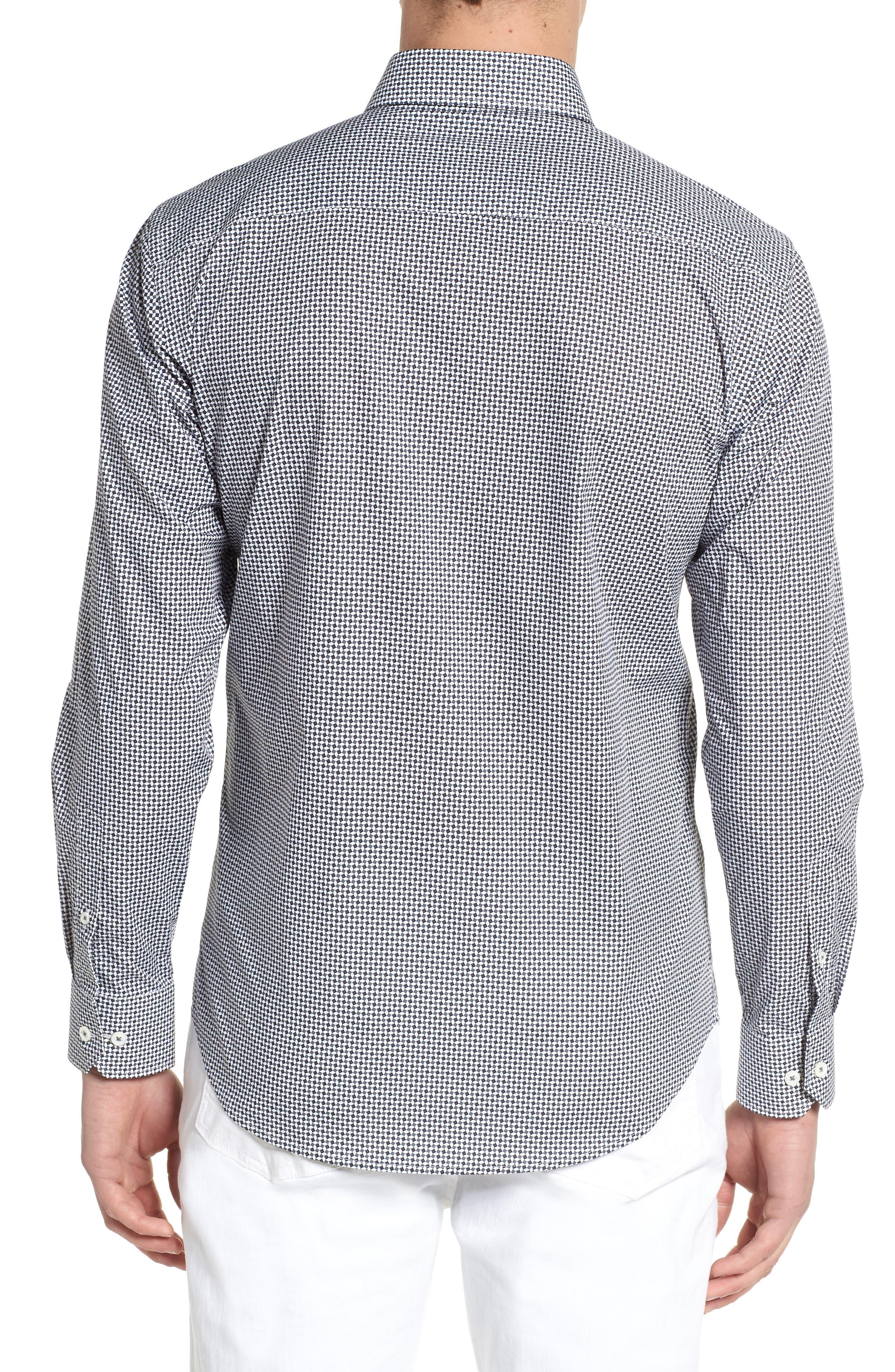 Shaped Fit Diamond Print Sport Shirt,                             Alternate thumbnail 2, color,                             020