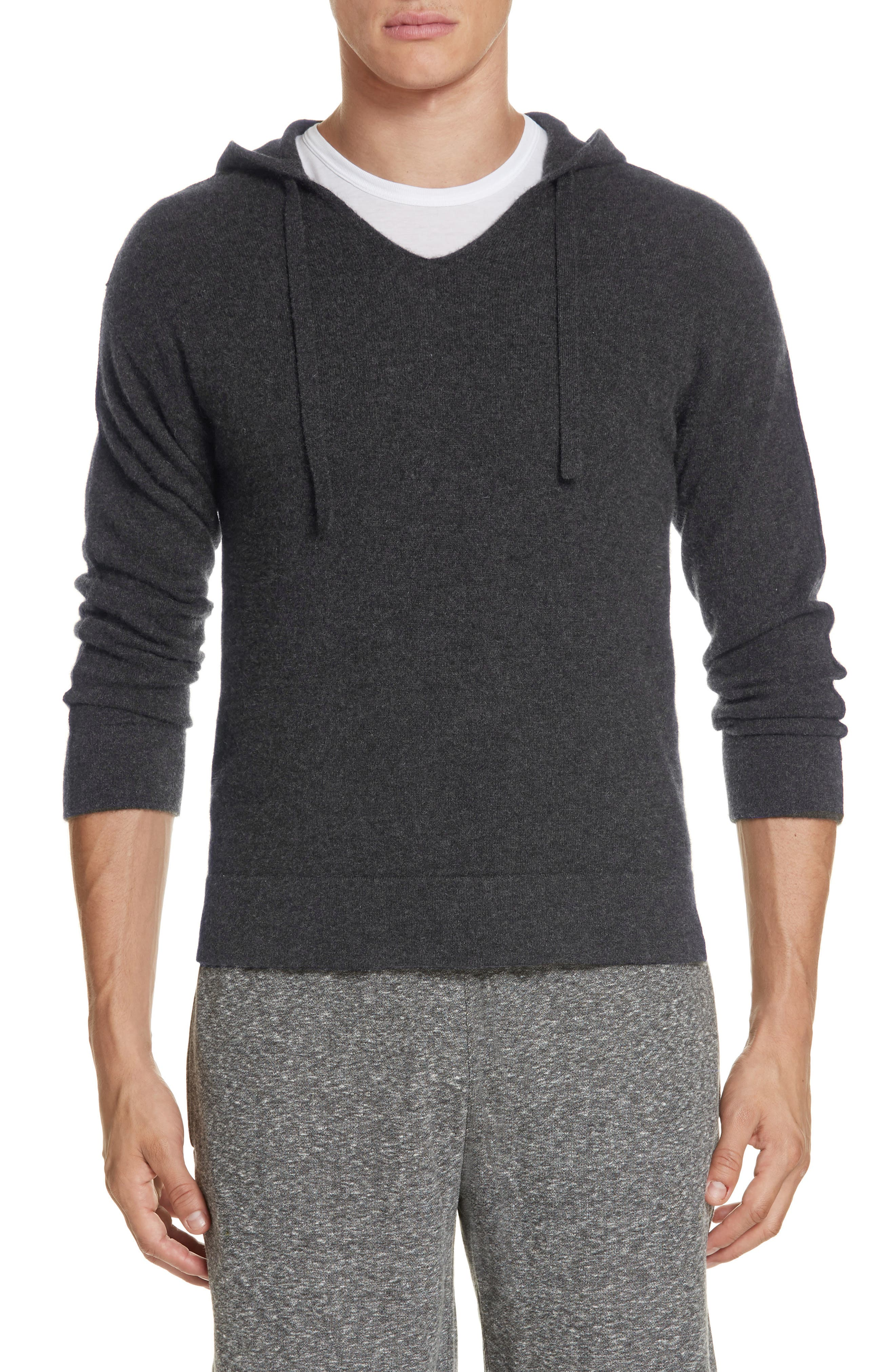 Jamie Sunset Cashmere Hooded Sweater,                         Main,                         color, CHARCOAL