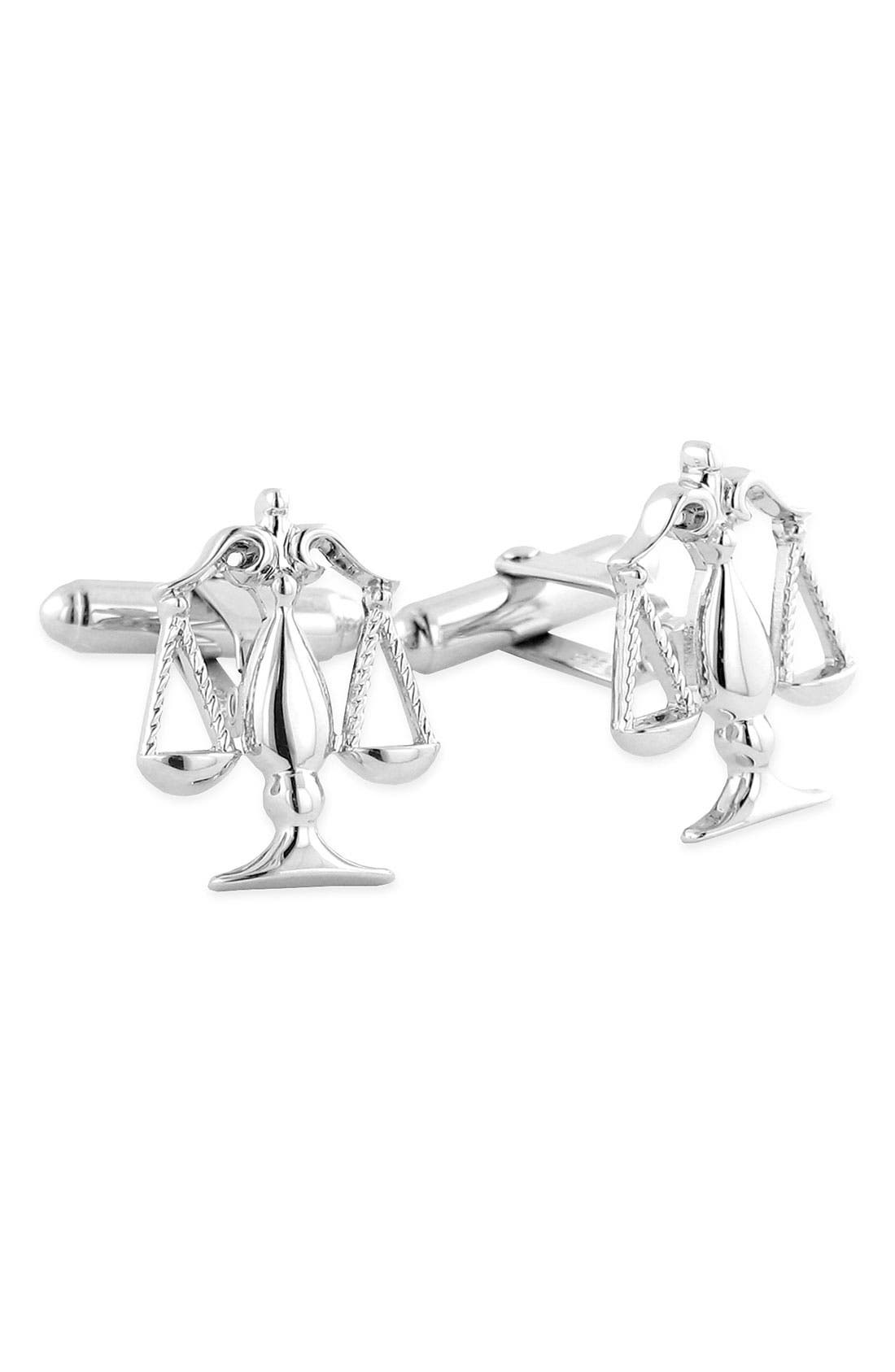 'Scales of Justice' Cuff Links,                         Main,                         color, SILVER LEGAL