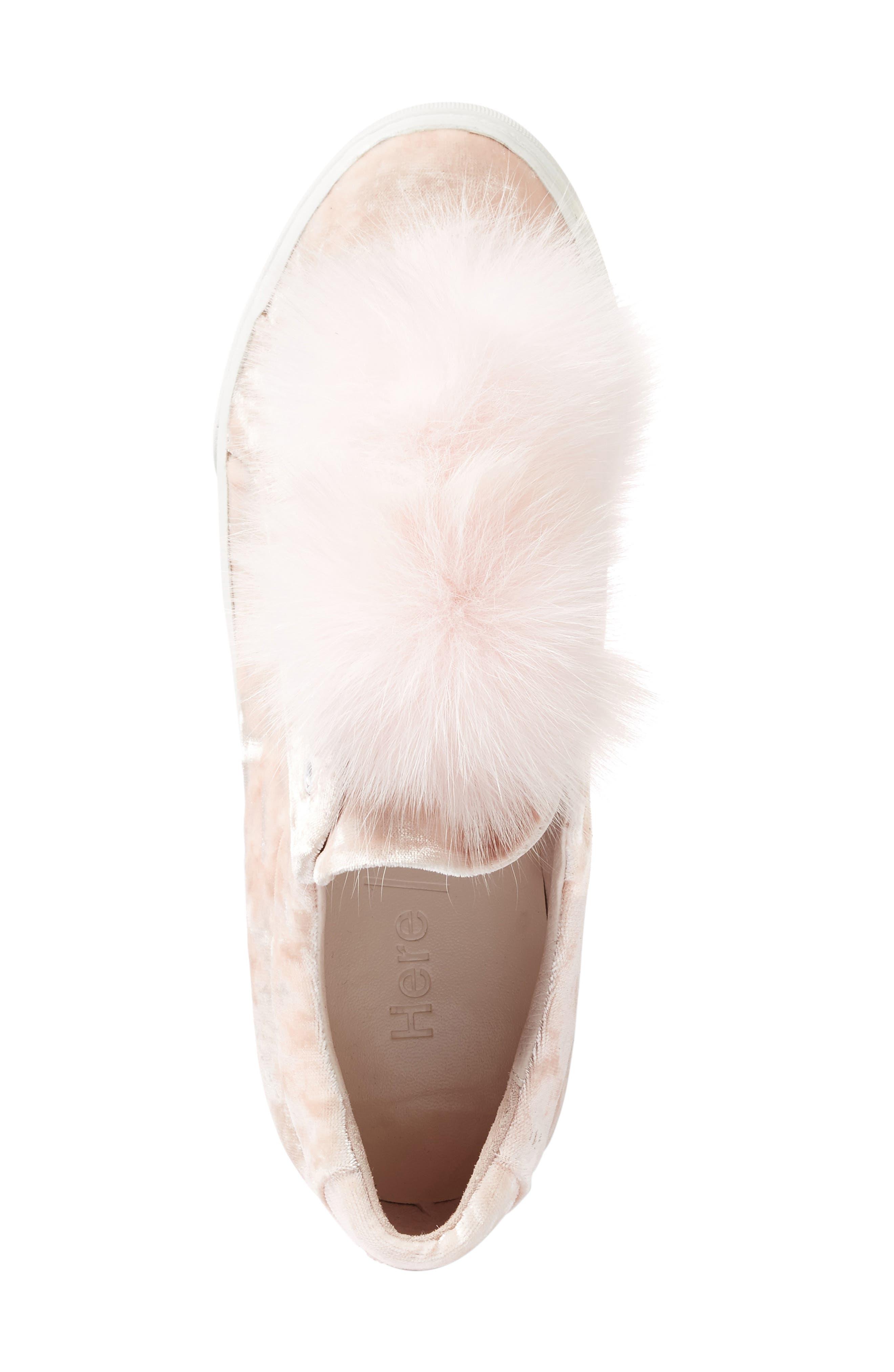 Emma Genuine Fox Fur Trim Sneaker,                             Alternate thumbnail 3, color,                             650