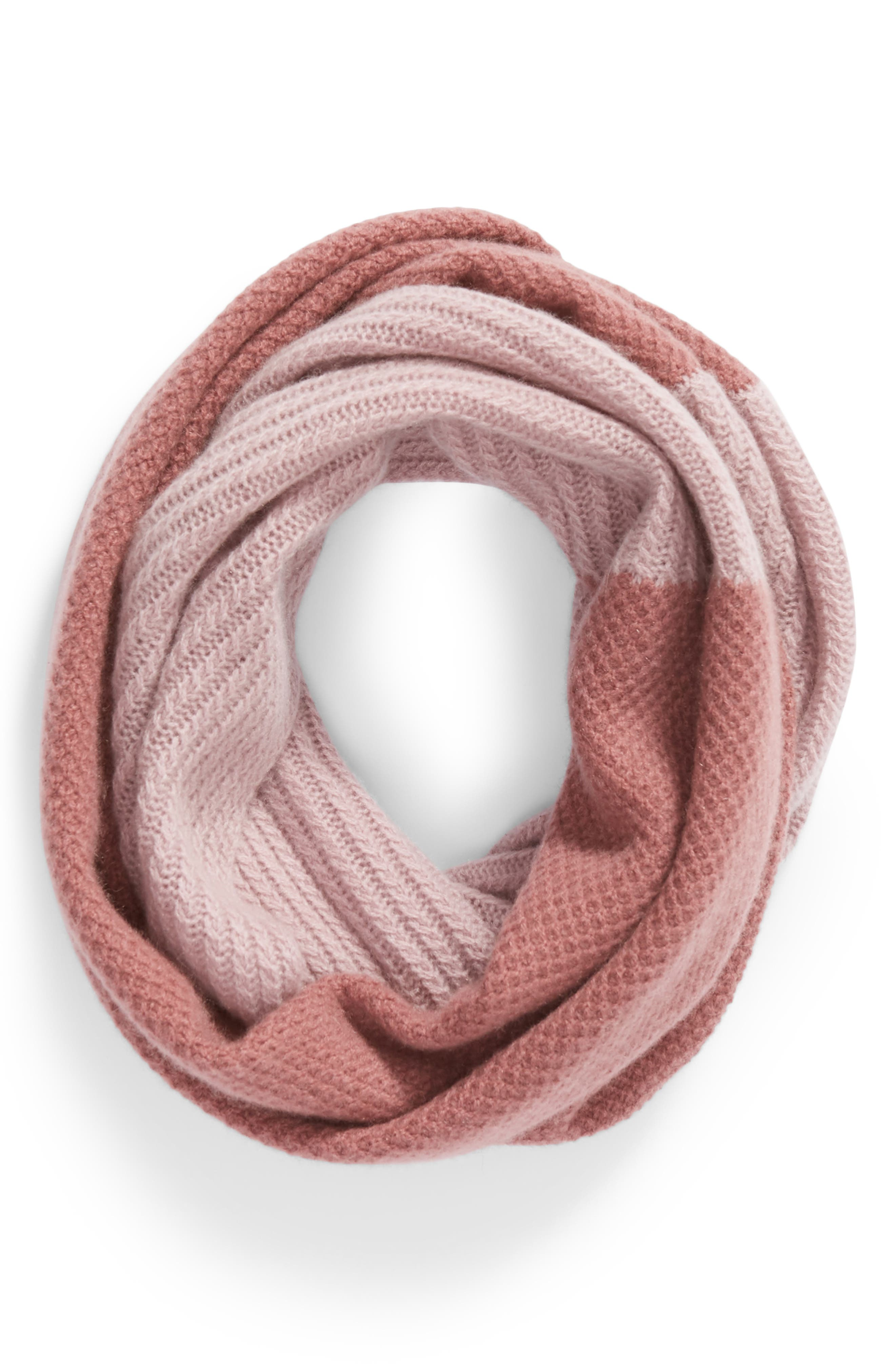 Double Stitch Cashmere Infinity Scarf,                             Alternate thumbnail 2, color,                             BURGUNDY COMBO