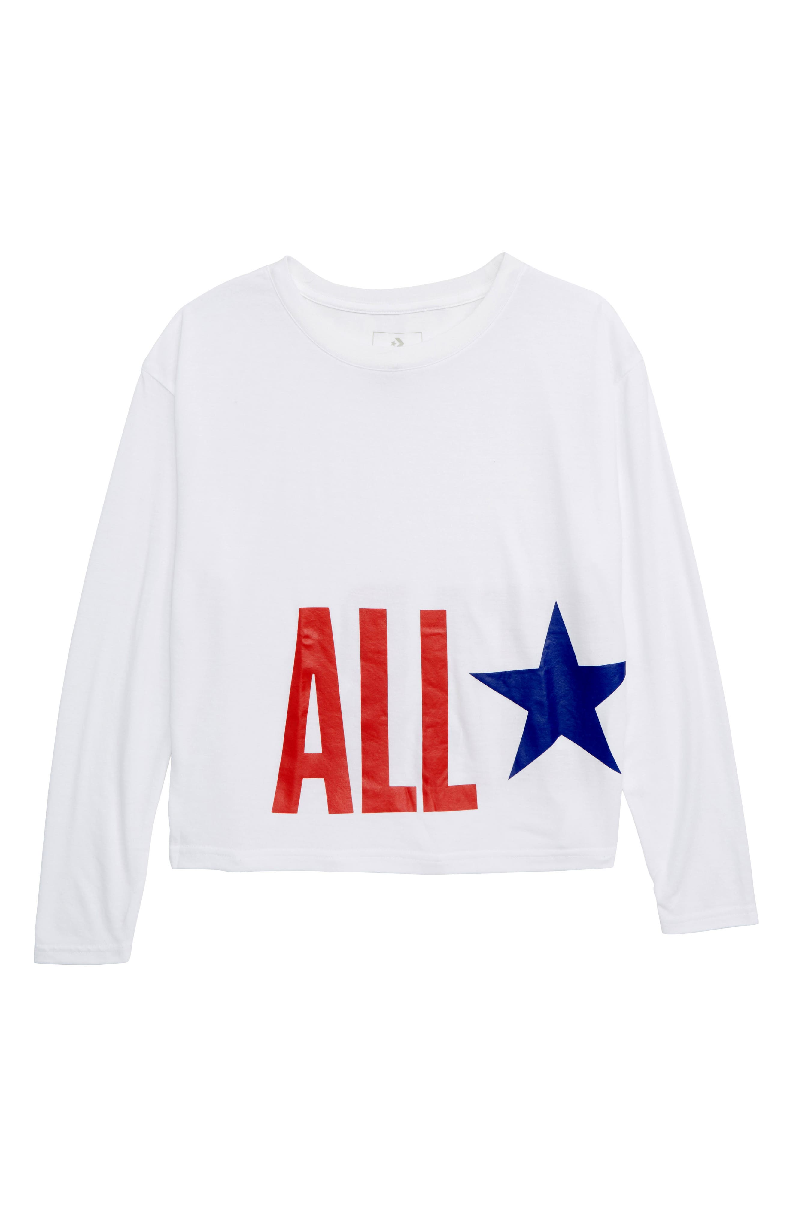 All Star<sup>®</sup> Oversize Long Sleeve Tee,                         Main,                         color, WHITE