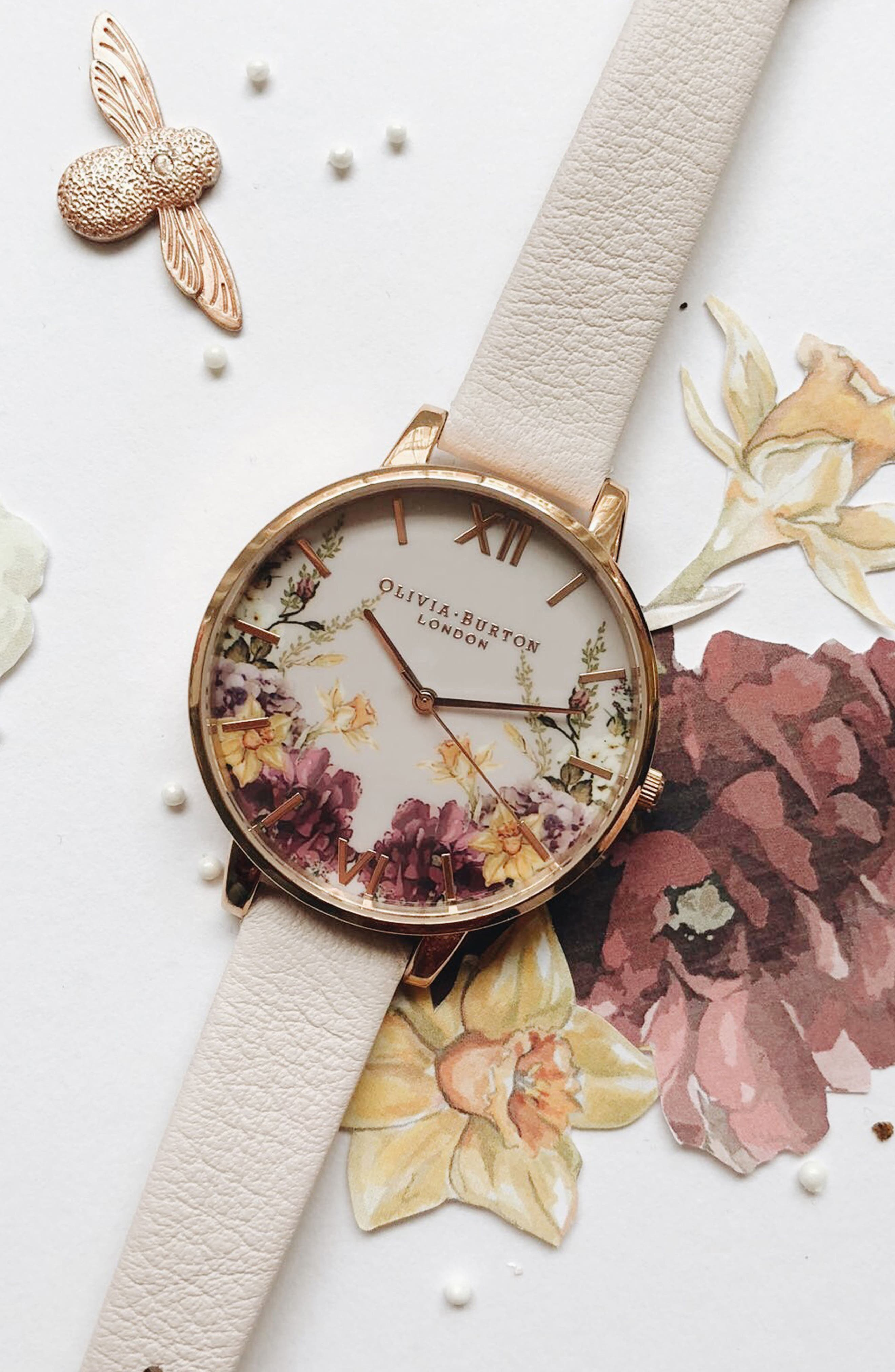 Enchanted Garden Leather Strap Watch, 38mm,                             Alternate thumbnail 8, color,                             BLOSSOM/ PINK/ ROSE GOLD