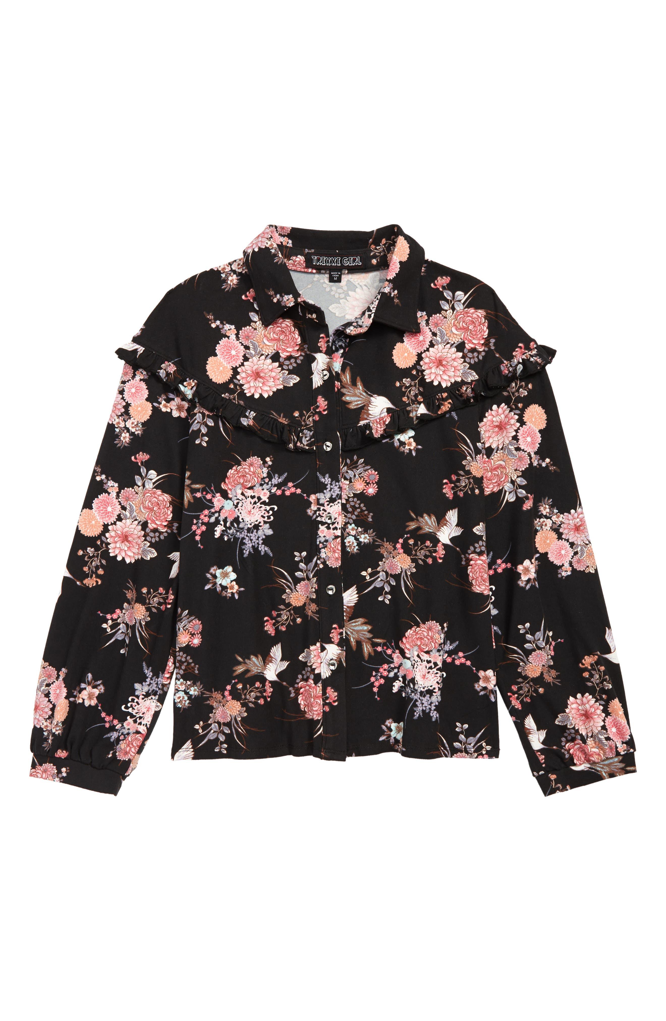 Floral Knit Top,                             Main thumbnail 1, color,                             BLACK FLORAL