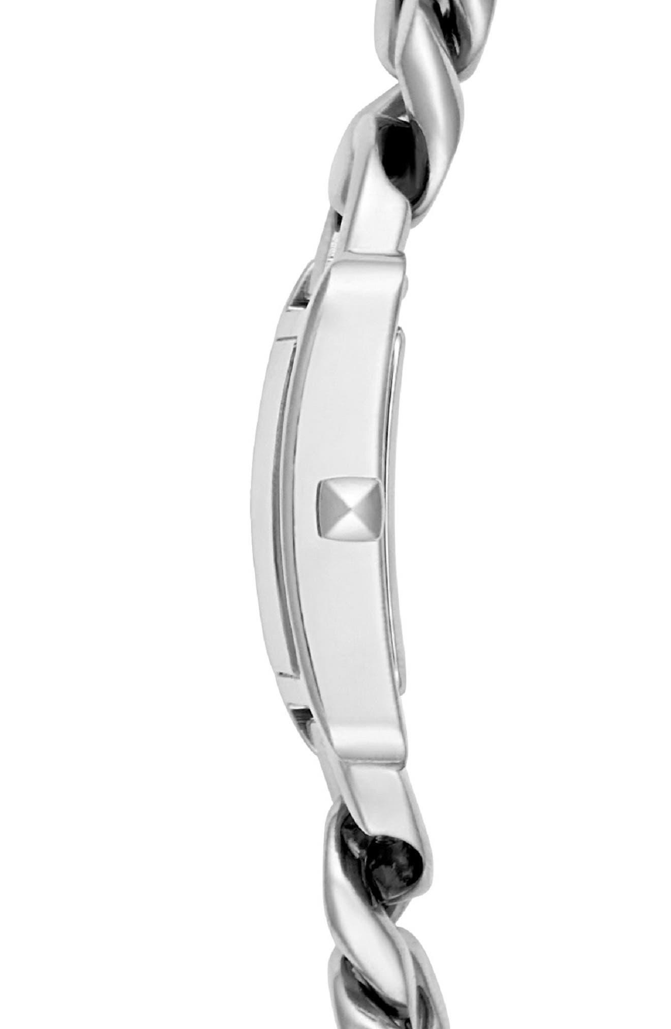 REBECCA MINKOFF,                             Moment Chain Wrap Bracelet Watch, 19mm x 30mm,                             Alternate thumbnail 3, color,                             SILVER