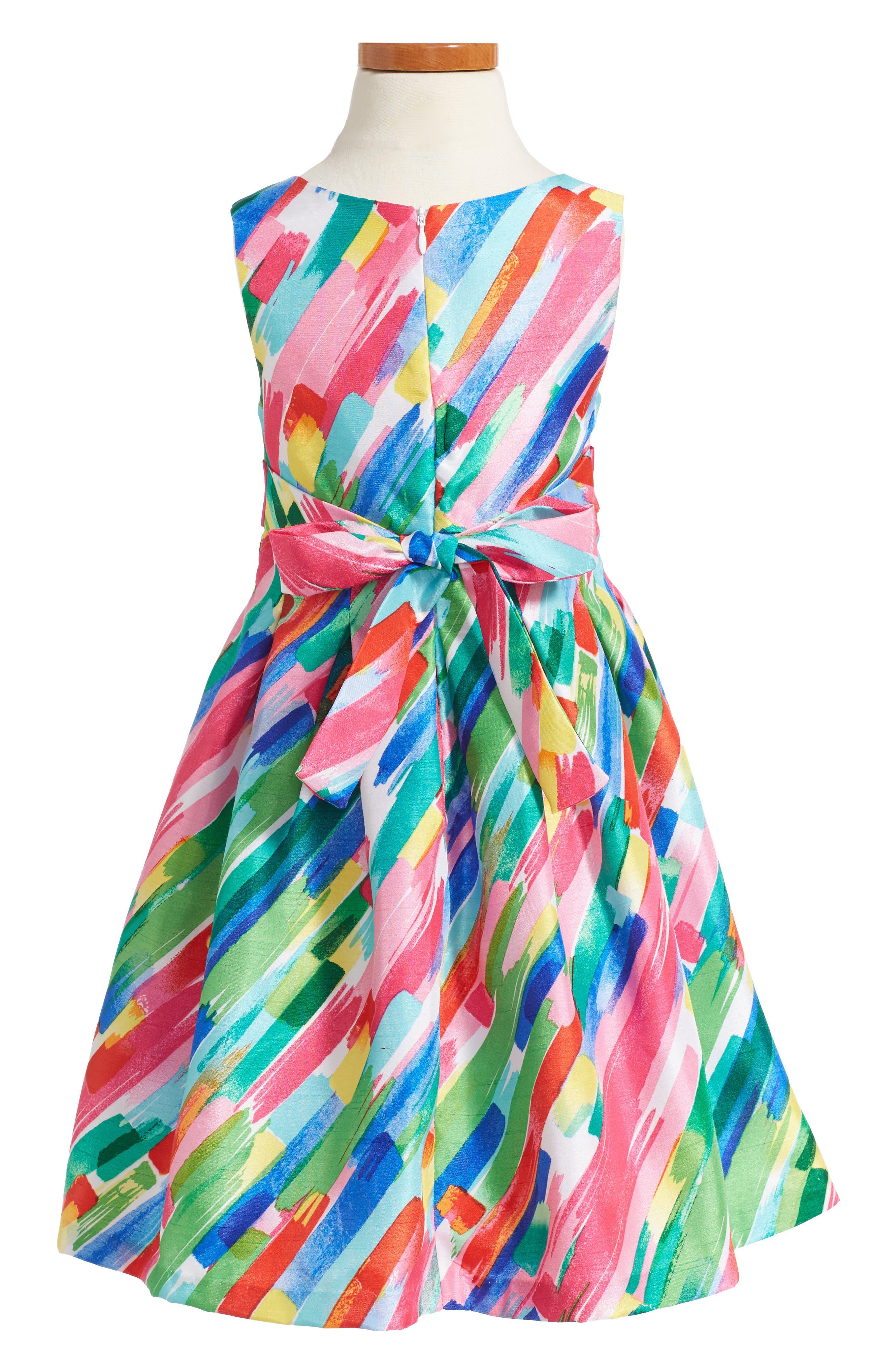 Paintstroke Print Shantung Party Dress,                             Alternate thumbnail 2, color,                             670