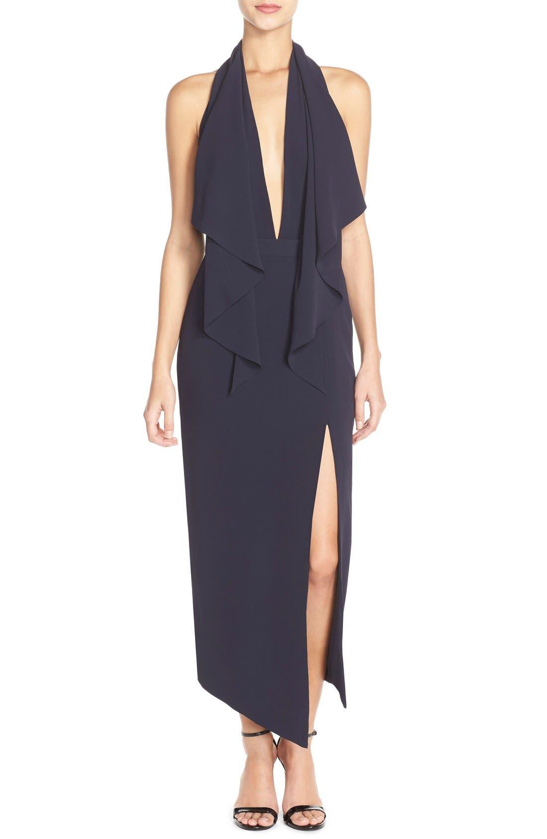 Crepe Halter Dress, Main, color, 410