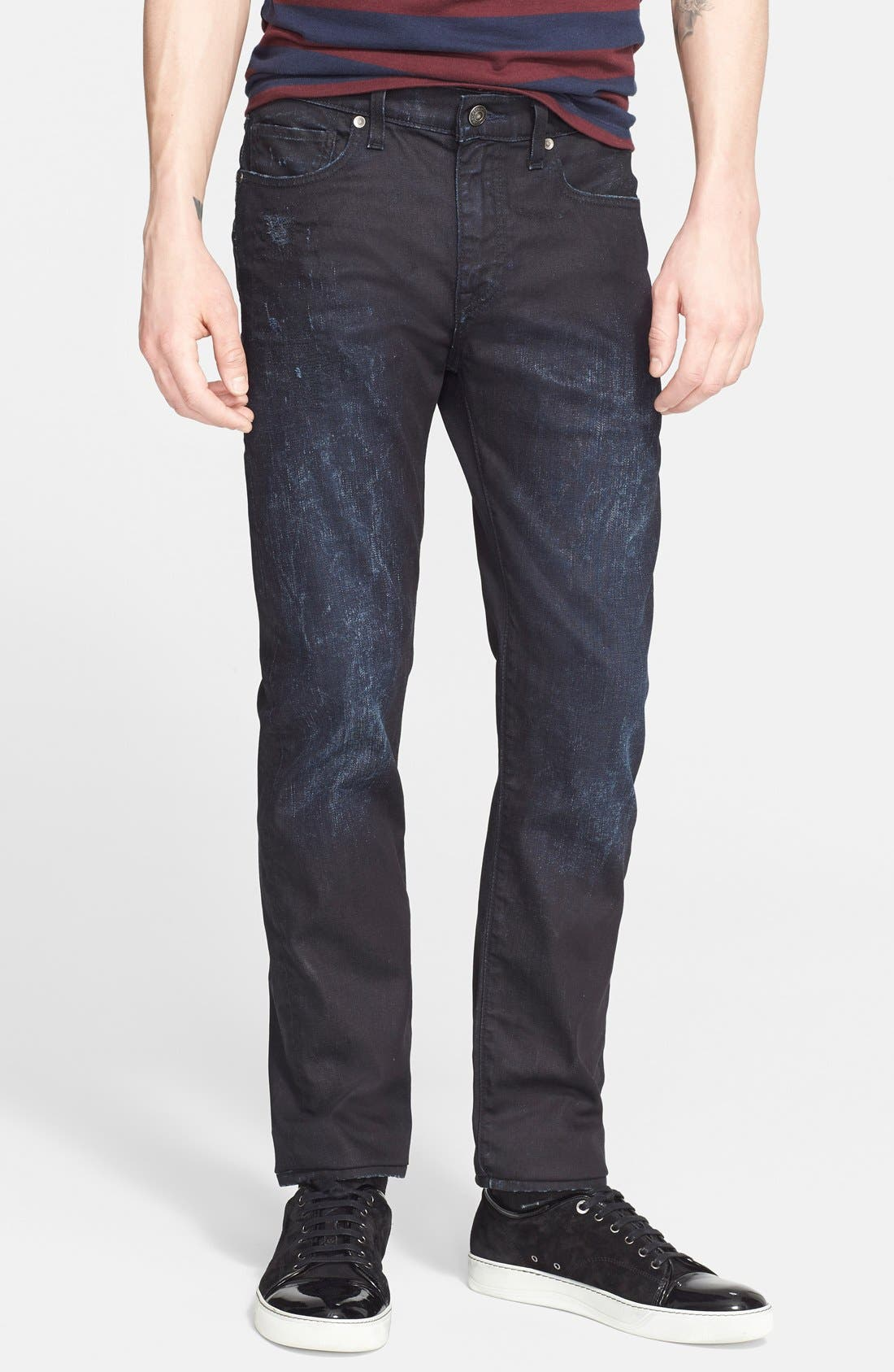 'Death or Glory' Waxed Skinny Fit Jeans, Main, color, 401