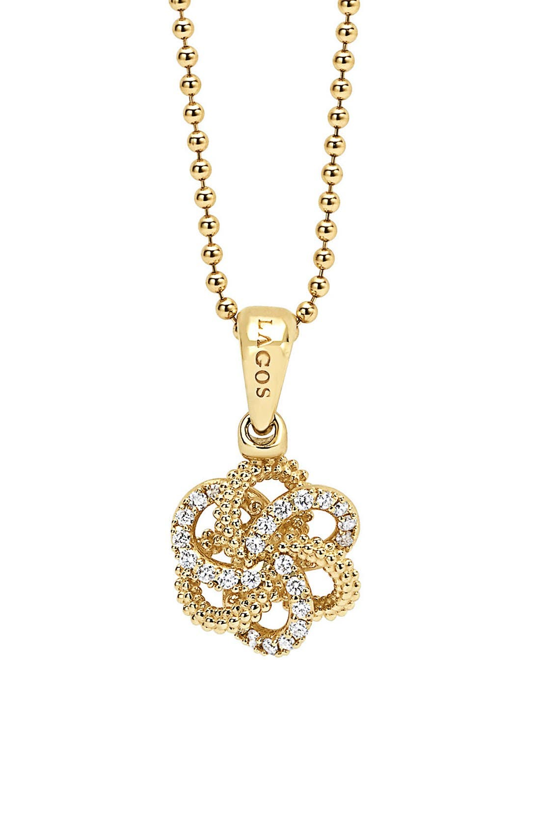 'Love Knot' Diamond Pendant Necklace,                             Main thumbnail 1, color,                             GOLD