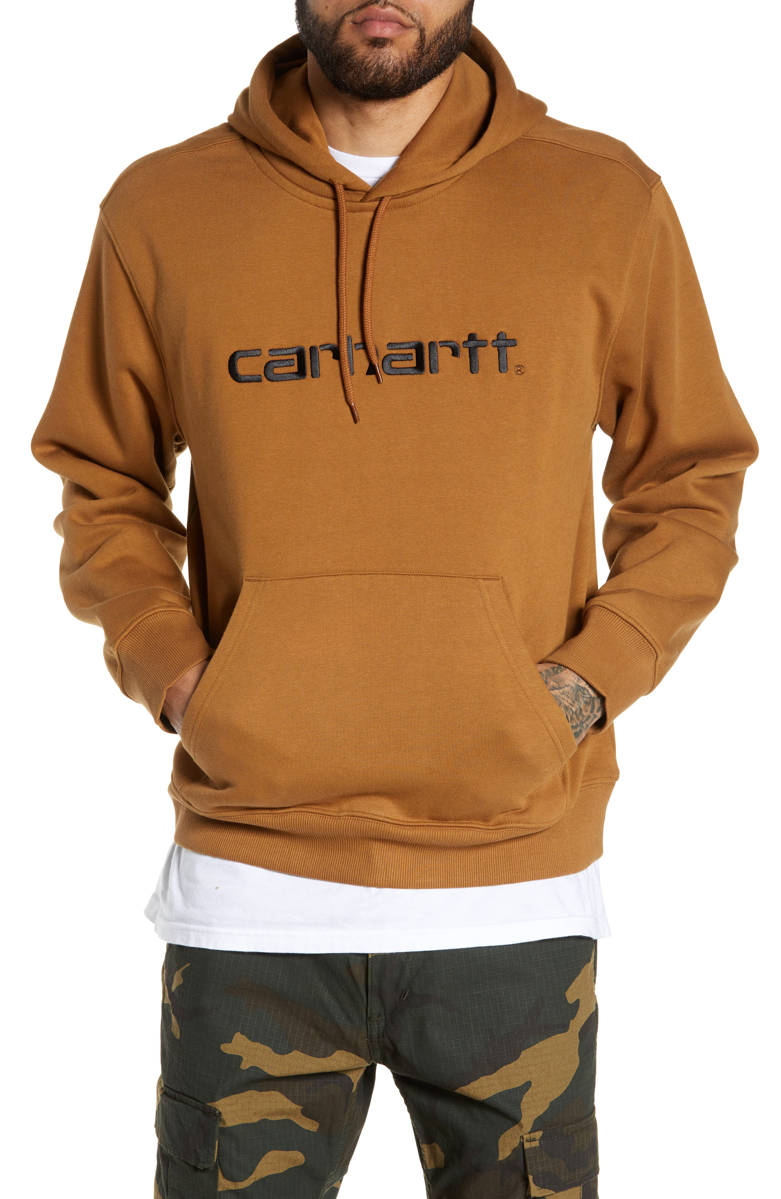 Logo Embroidered Hooded Sweatshirt, Main, color, HAMILTON BROWN / BLACK