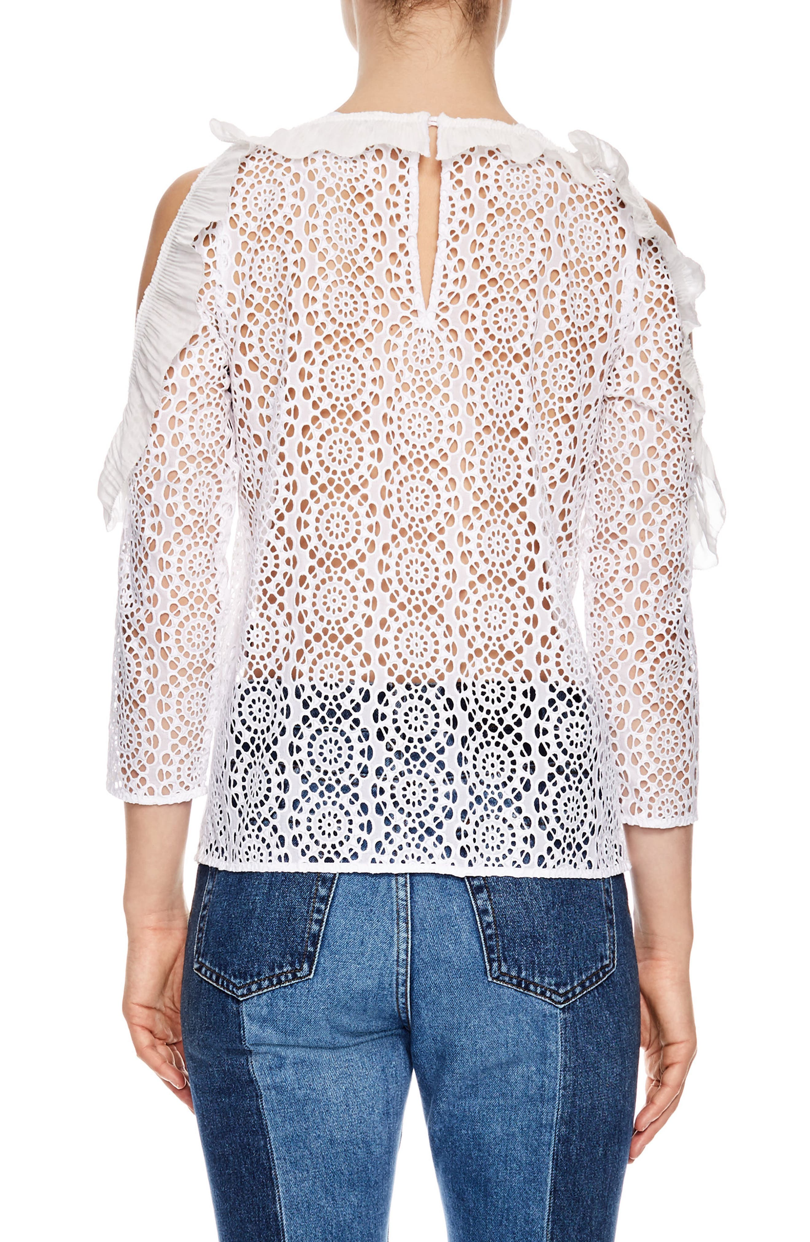 SANDRO,                             Sheer Lace Cold Shoulder Top,                             Alternate thumbnail 2, color,                             100