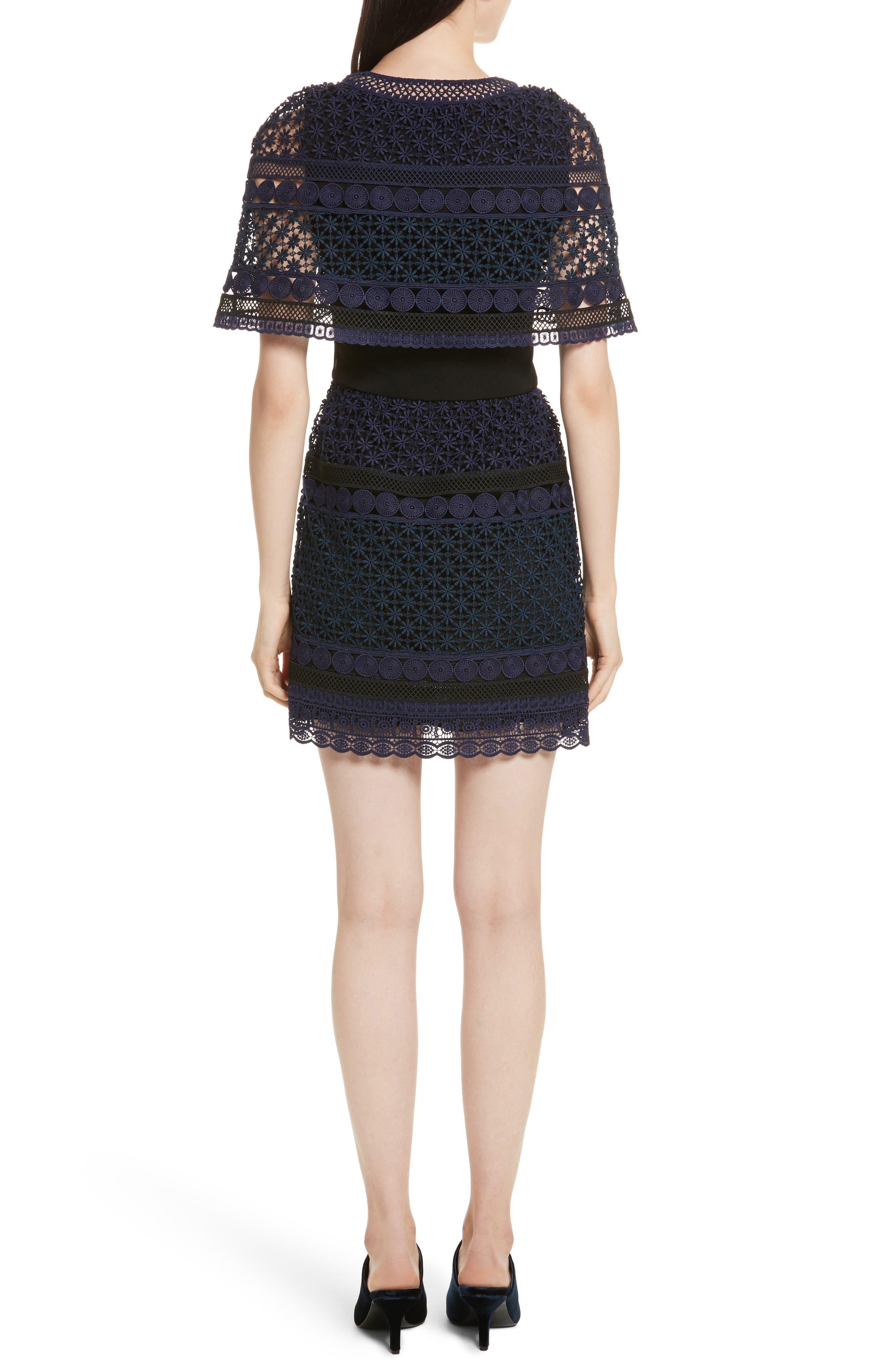 Guipure Lace Cape Dress,                             Alternate thumbnail 2, color,                             400