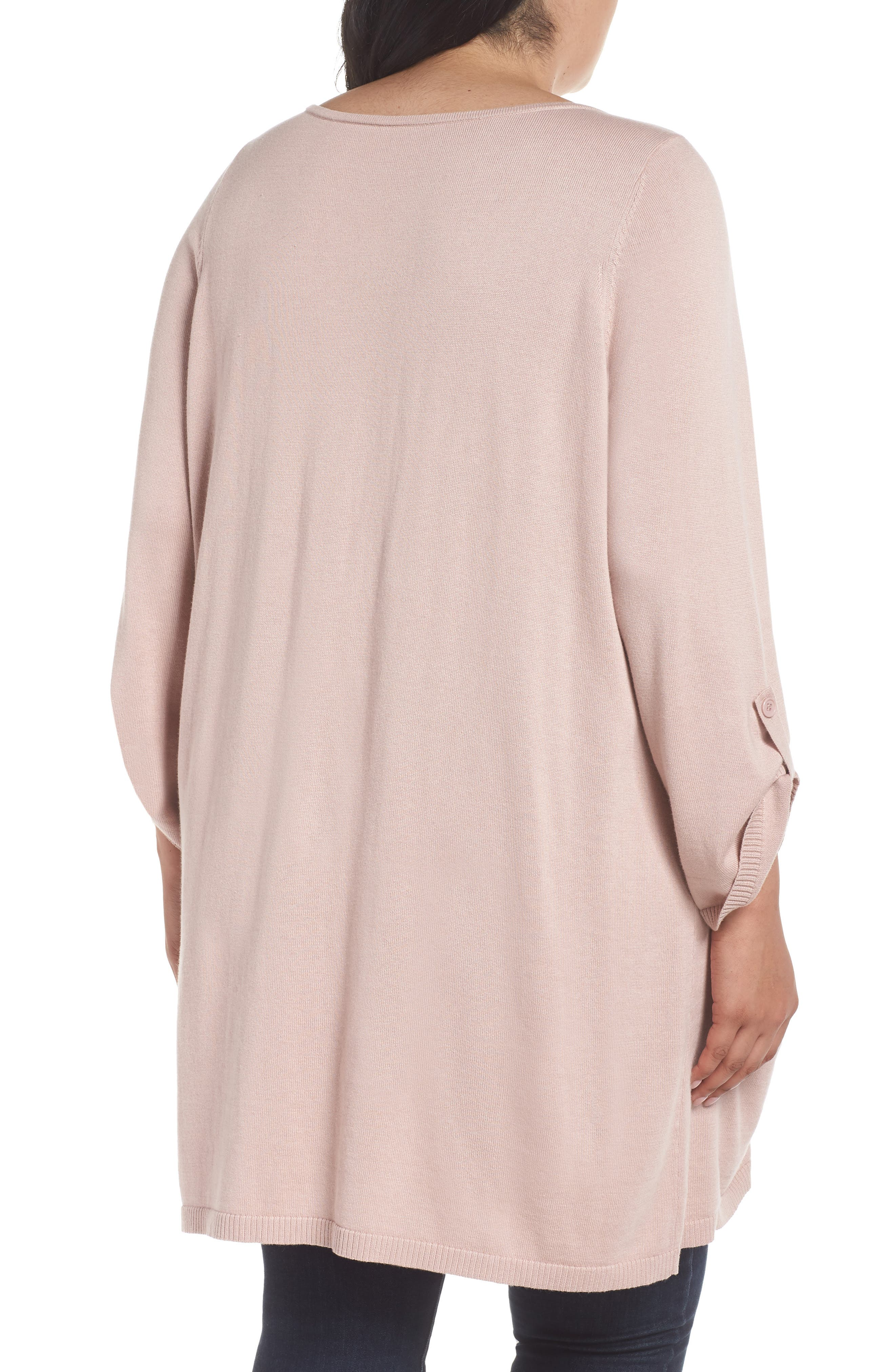 Roll Sleeve Tunic Sweater,                             Alternate thumbnail 2, color,                             PINK ADOBE