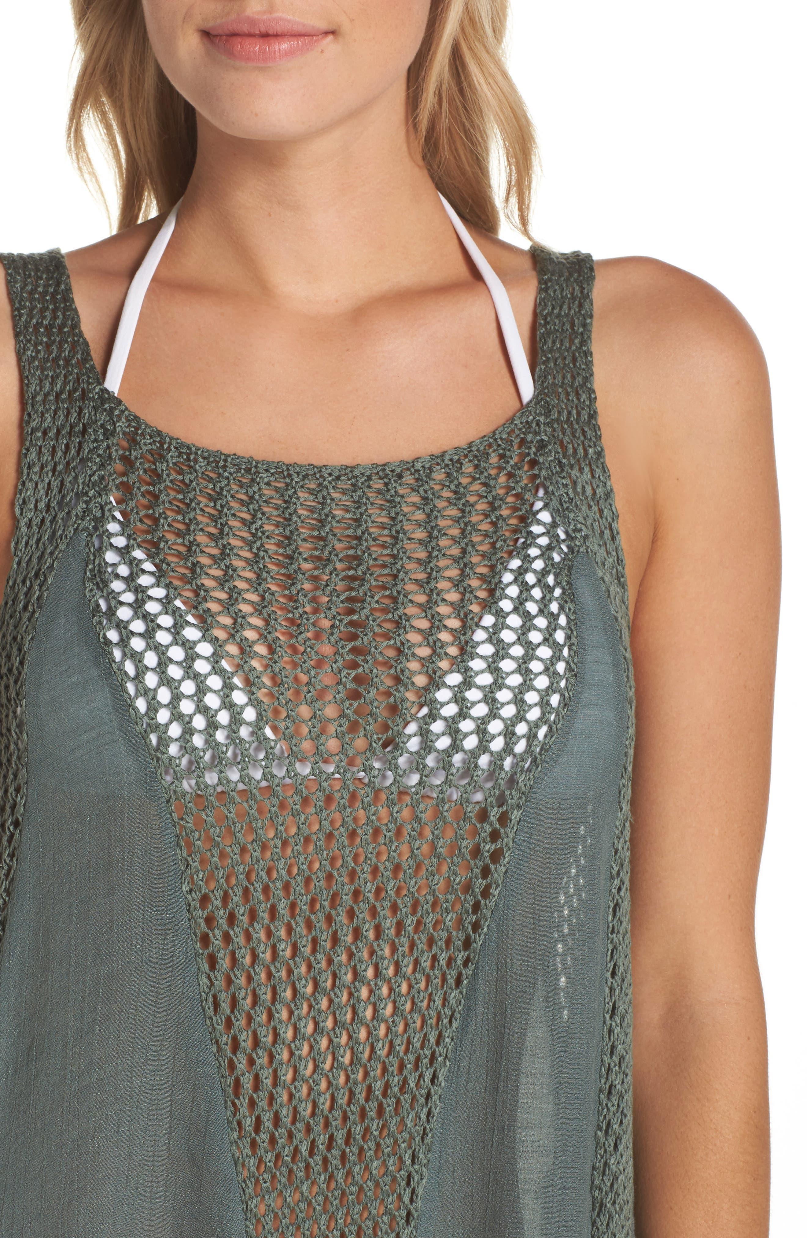Crochet Inset Cover-Up Dress,                             Alternate thumbnail 4, color,                             302