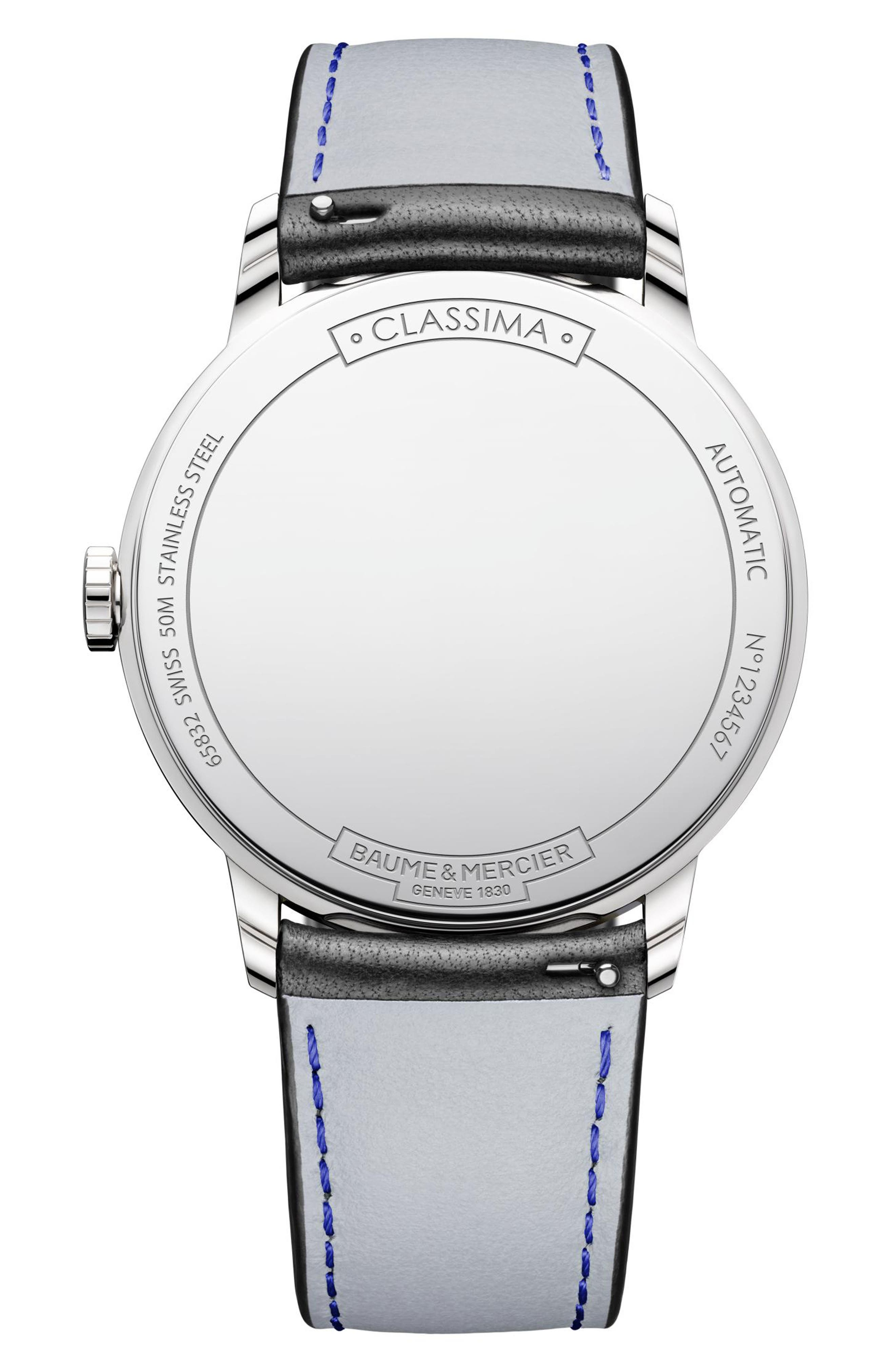 Classima Automatic Leather Strap Watch, 42mm,                             Alternate thumbnail 2, color,                             100