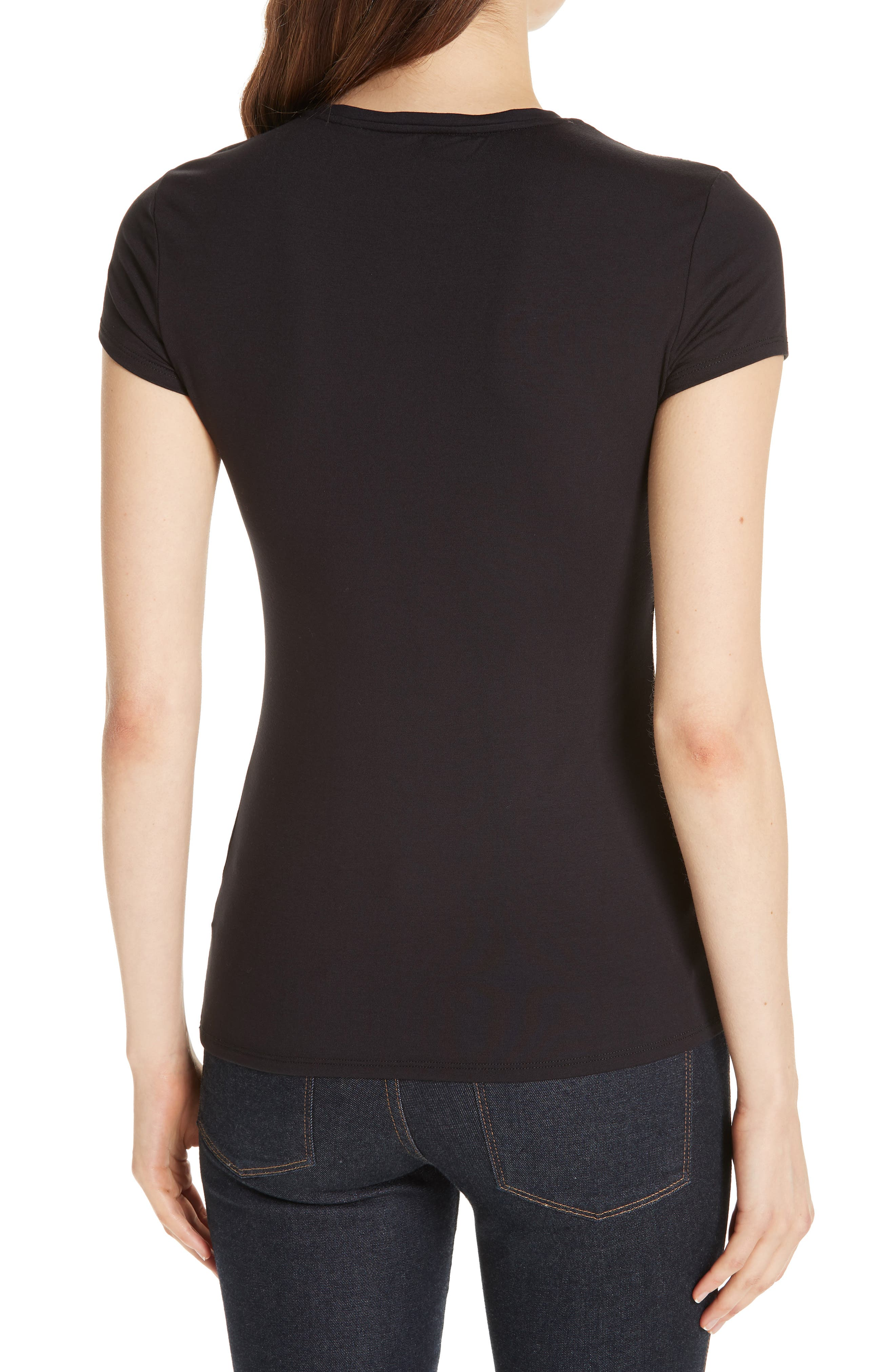 Hallie Pirouette Fitted Tee,                             Alternate thumbnail 2, color,                             BLACK