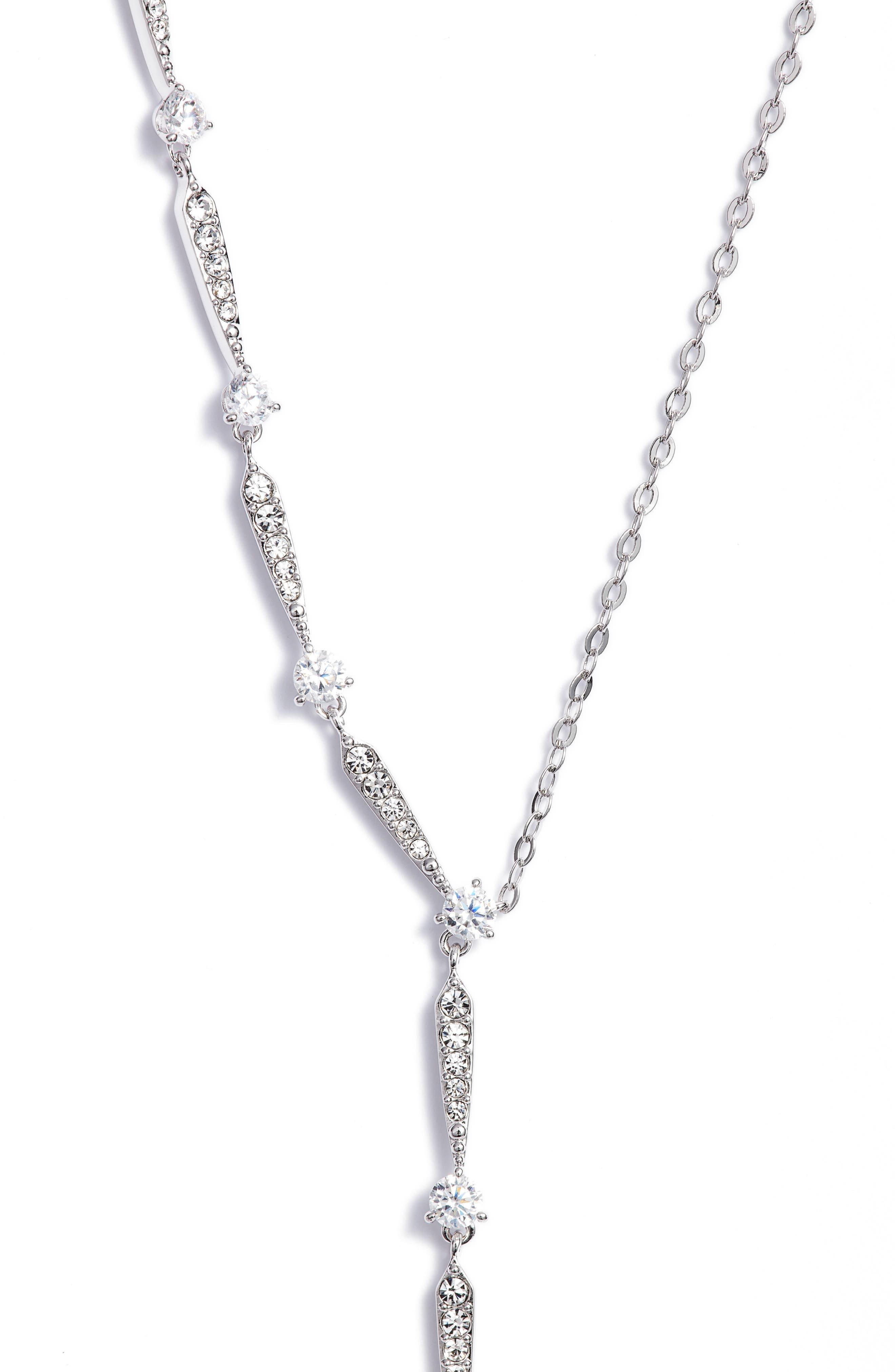 Cubic Zirconia Y-Shape Necklace,                         Main,                         color, 040