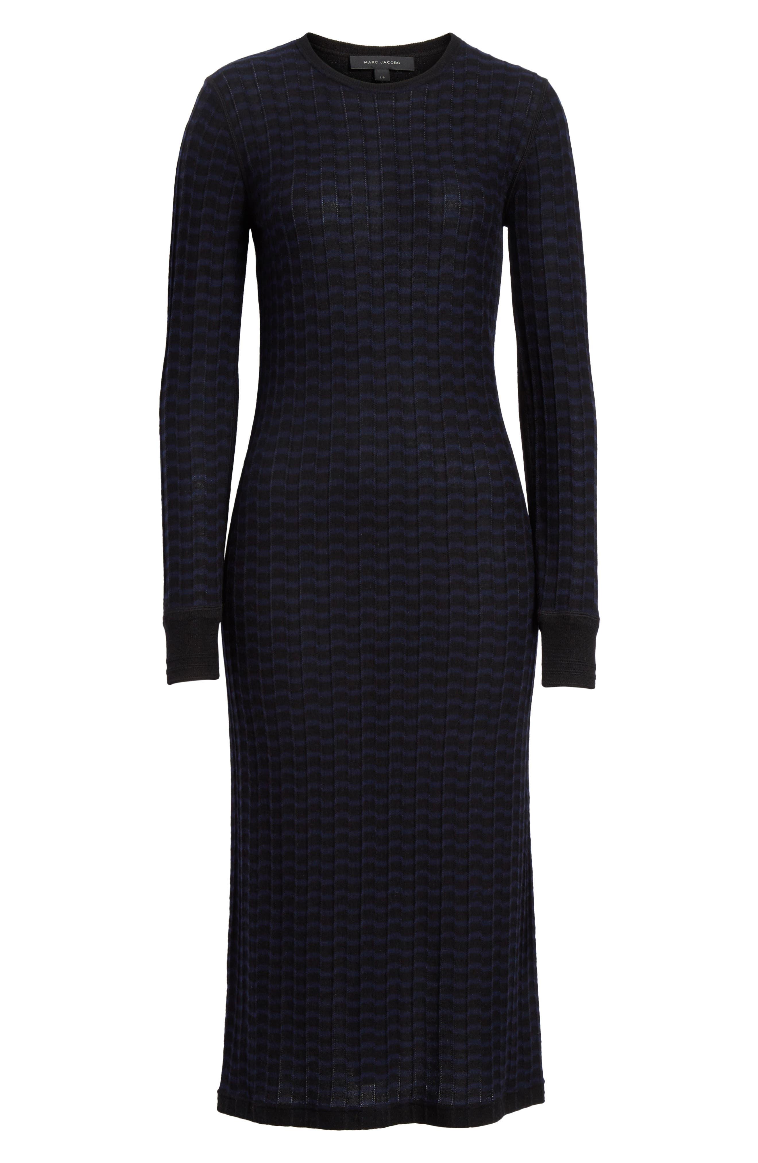 Stripe Wool Sweater-Dress,                             Alternate thumbnail 7, color,                             400