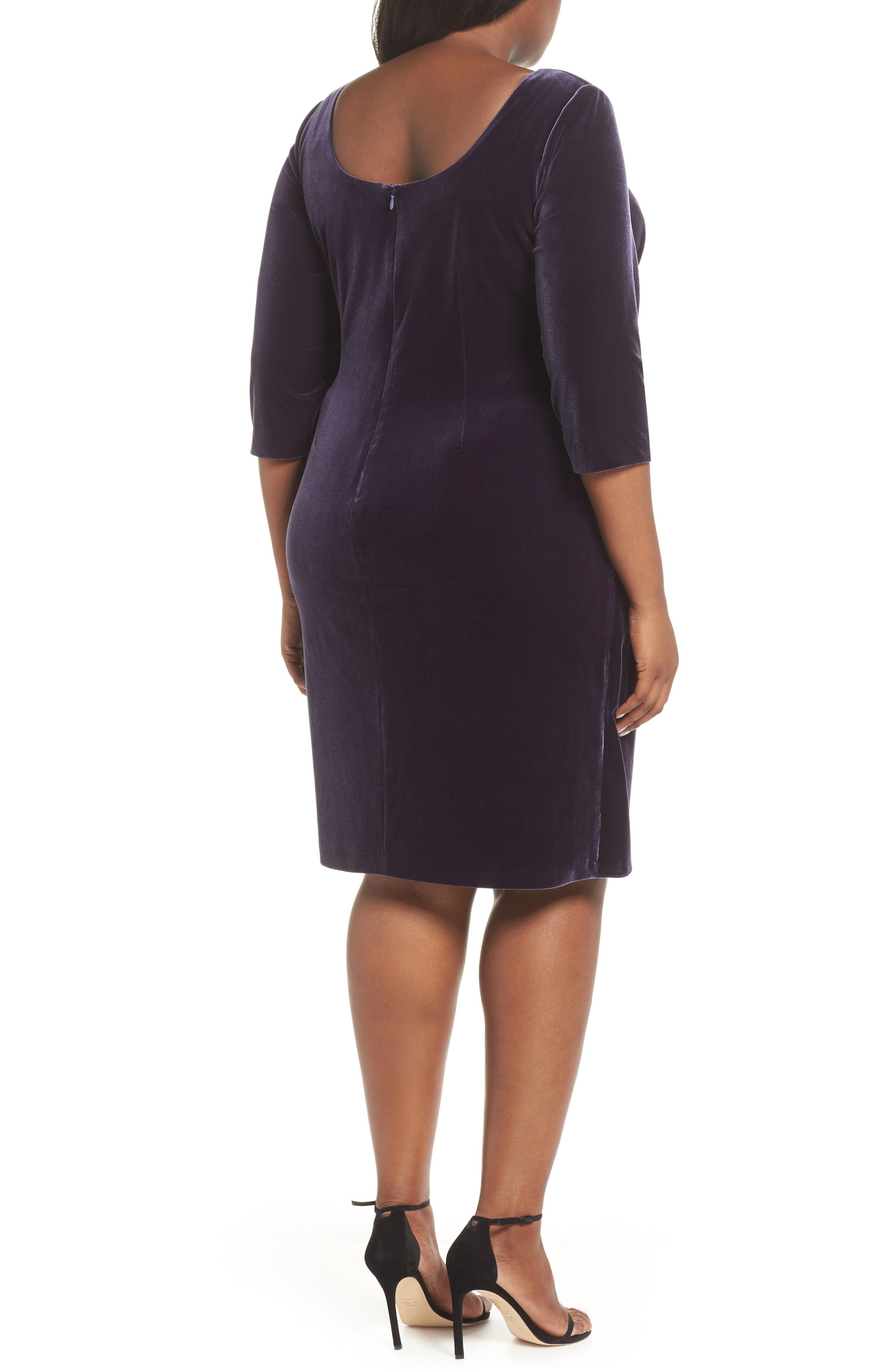 Alex Evening Velvet Sheath Dress,                             Alternate thumbnail 2, color,                             AMETHYST