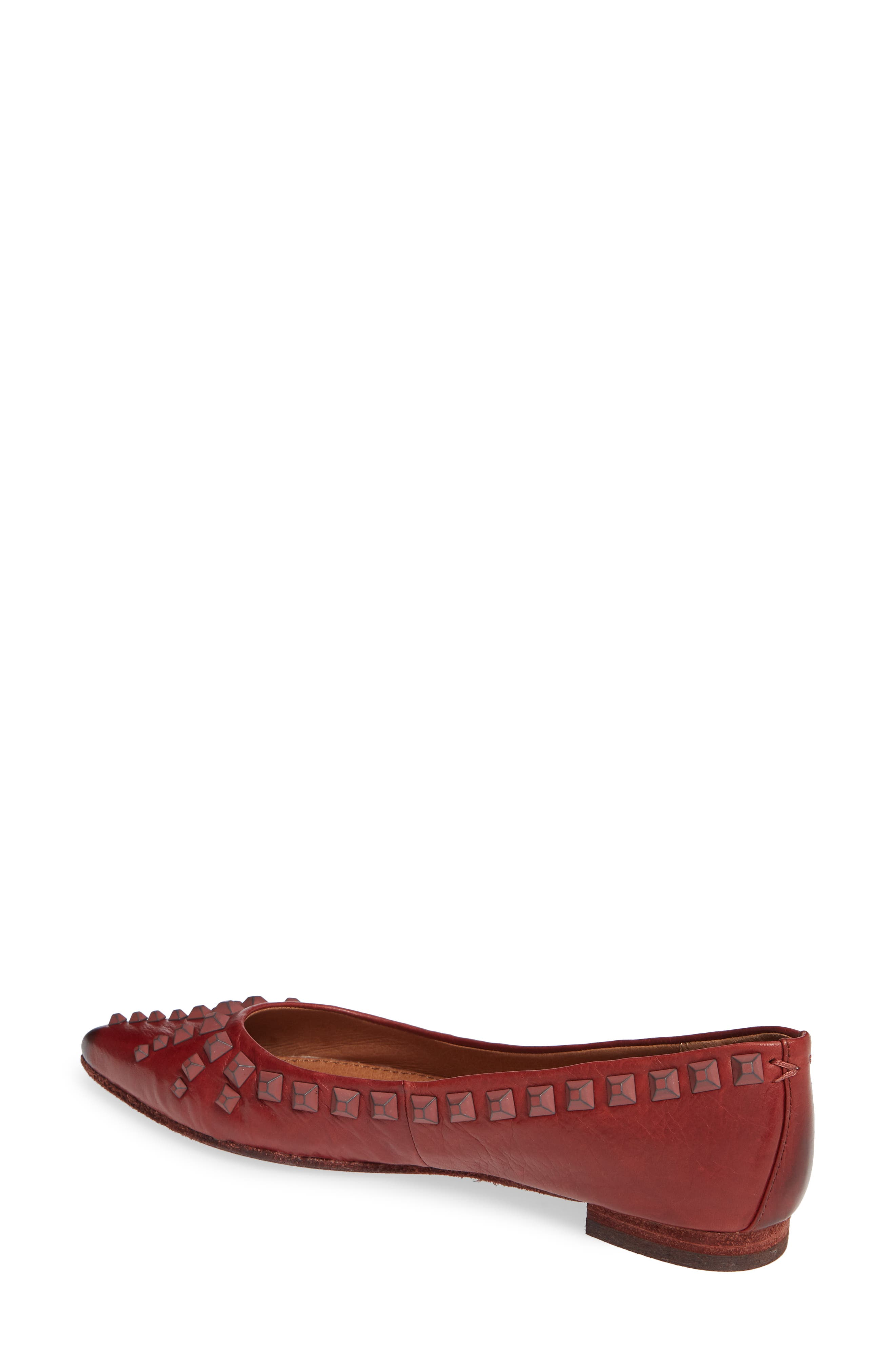 Sienna Deco Stud Ballet Flat,                             Alternate thumbnail 2, color,                             RED CLAY LEATHER