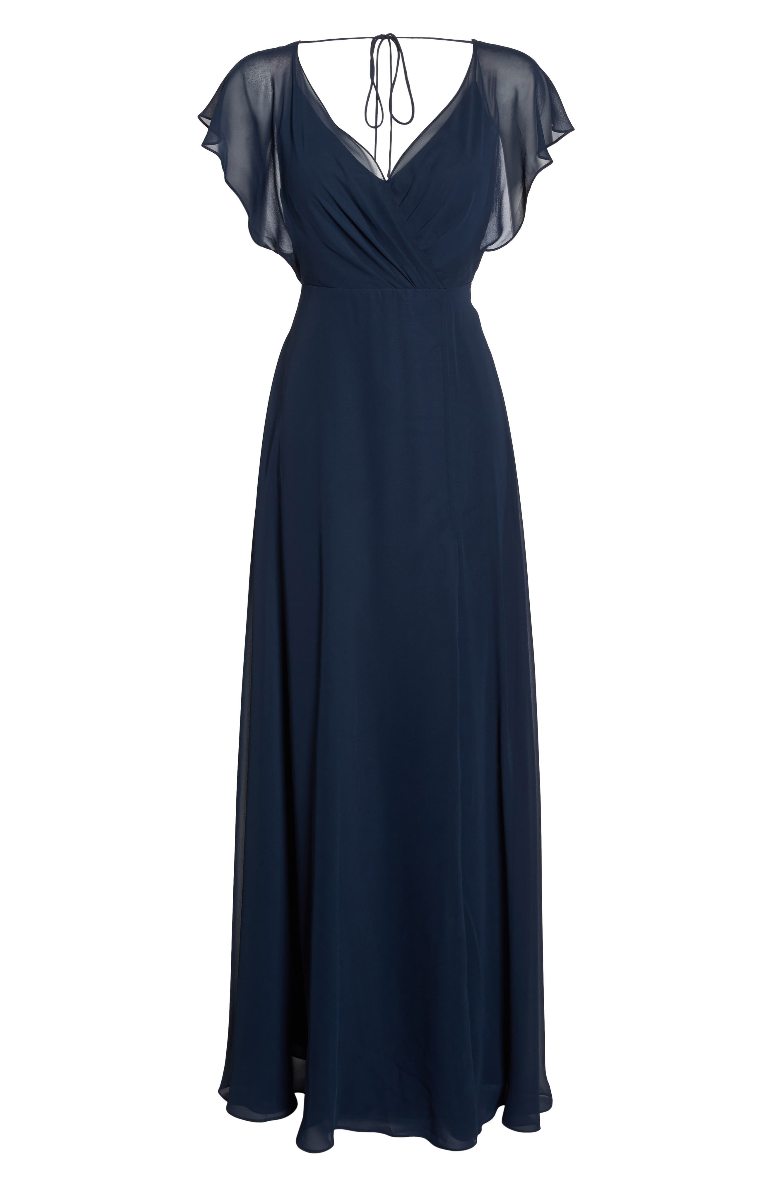 Alanna Open Back Chiffon Gown,                             Alternate thumbnail 7, color,                             NAVY