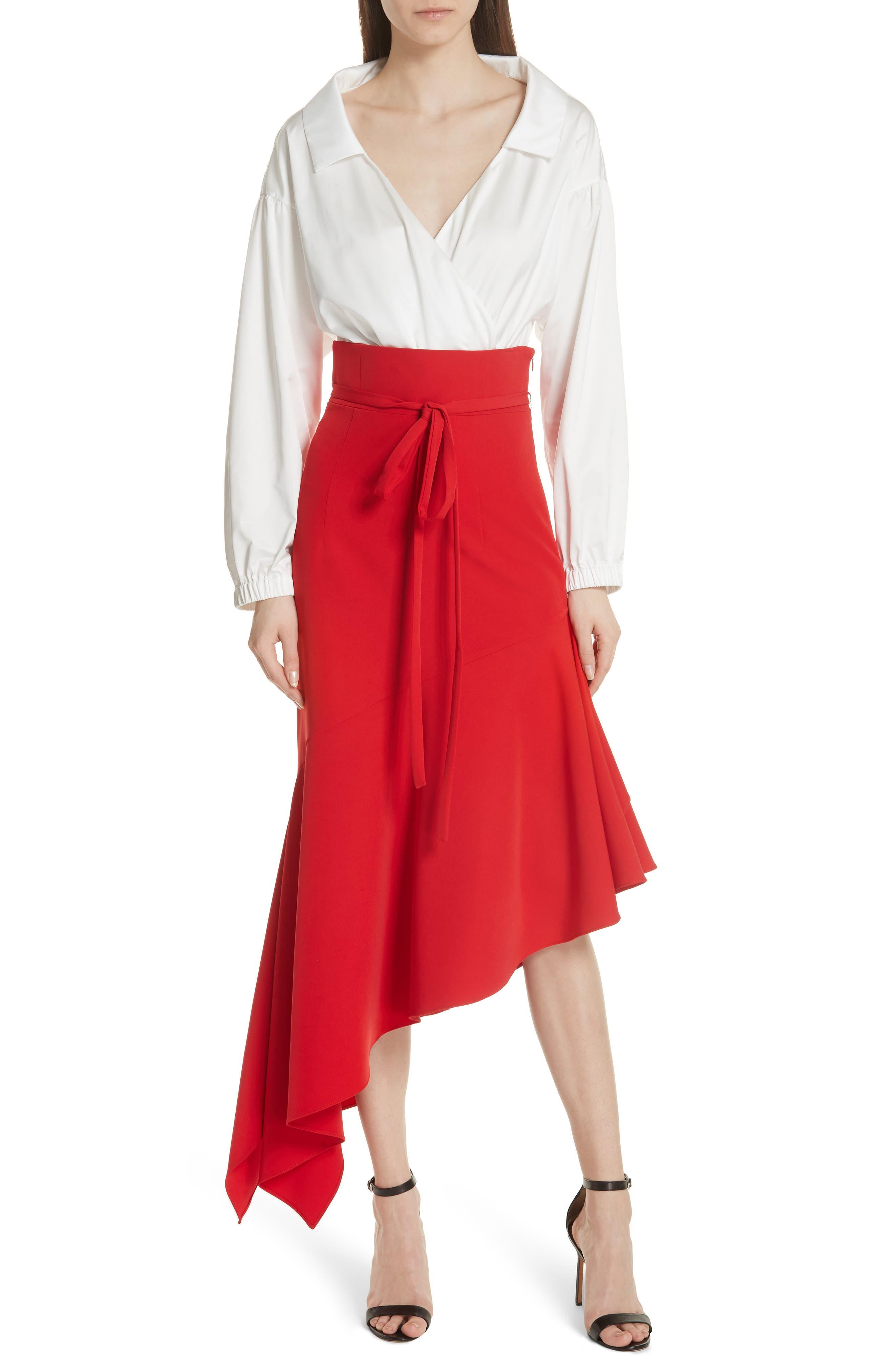 MILLY,                             Italian Duchess Taffeta Wrap Top Bodysuit,                             Alternate thumbnail 7, color,                             150