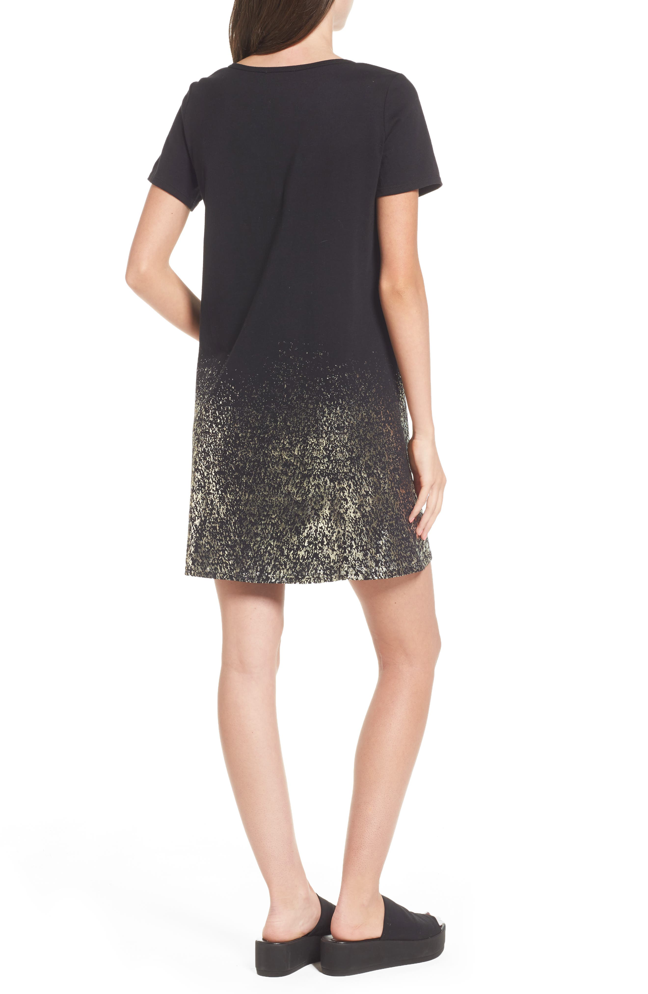 Foil Detail T-Shirt Dress,                             Alternate thumbnail 4, color,
