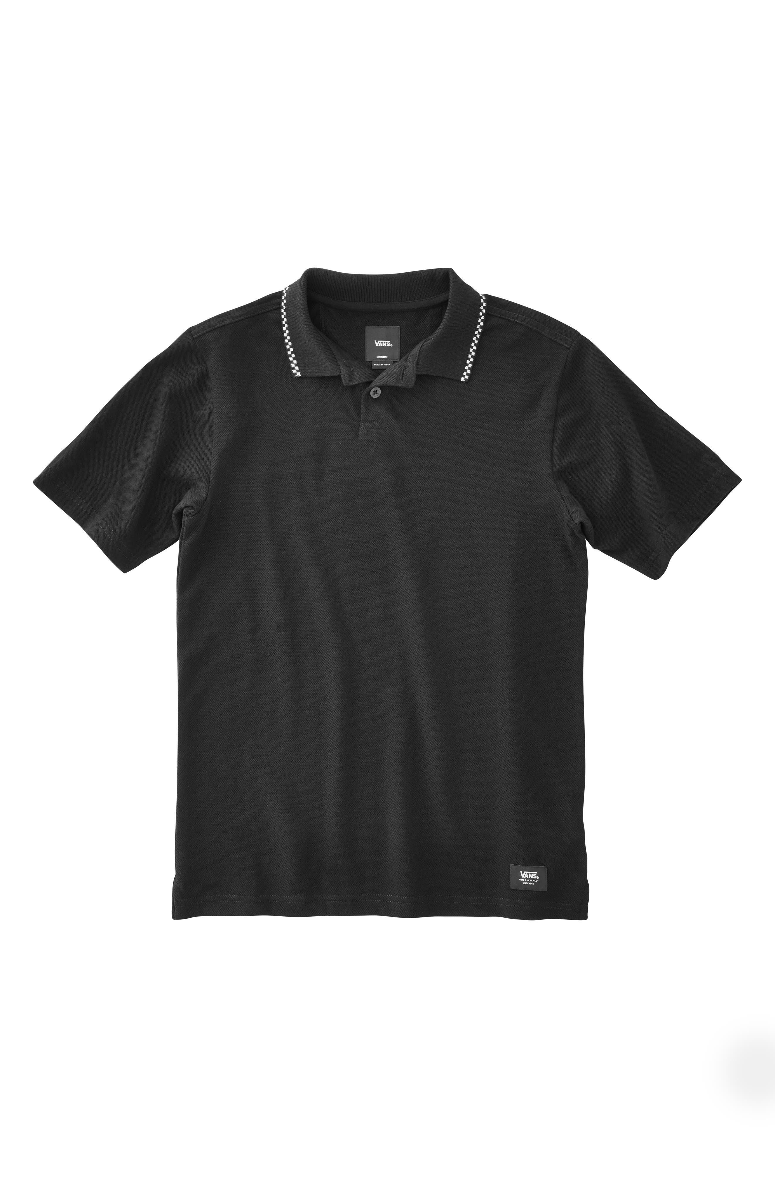 Check Tip Piqué Polo,                             Main thumbnail 1, color,                             BLACK