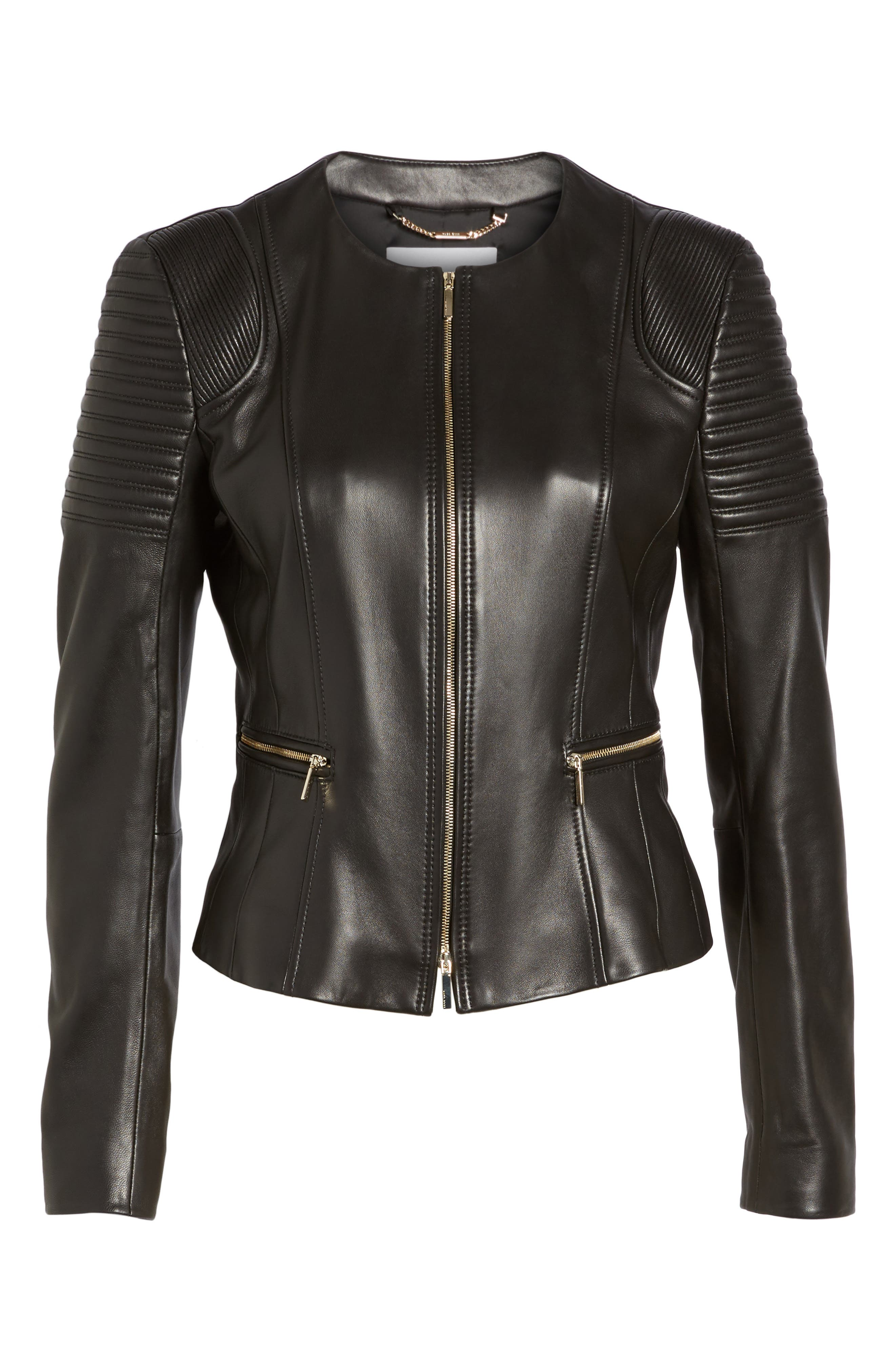 BOSS,                             Sakumaya Leather Jacket,                             Alternate thumbnail 5, color,                             001