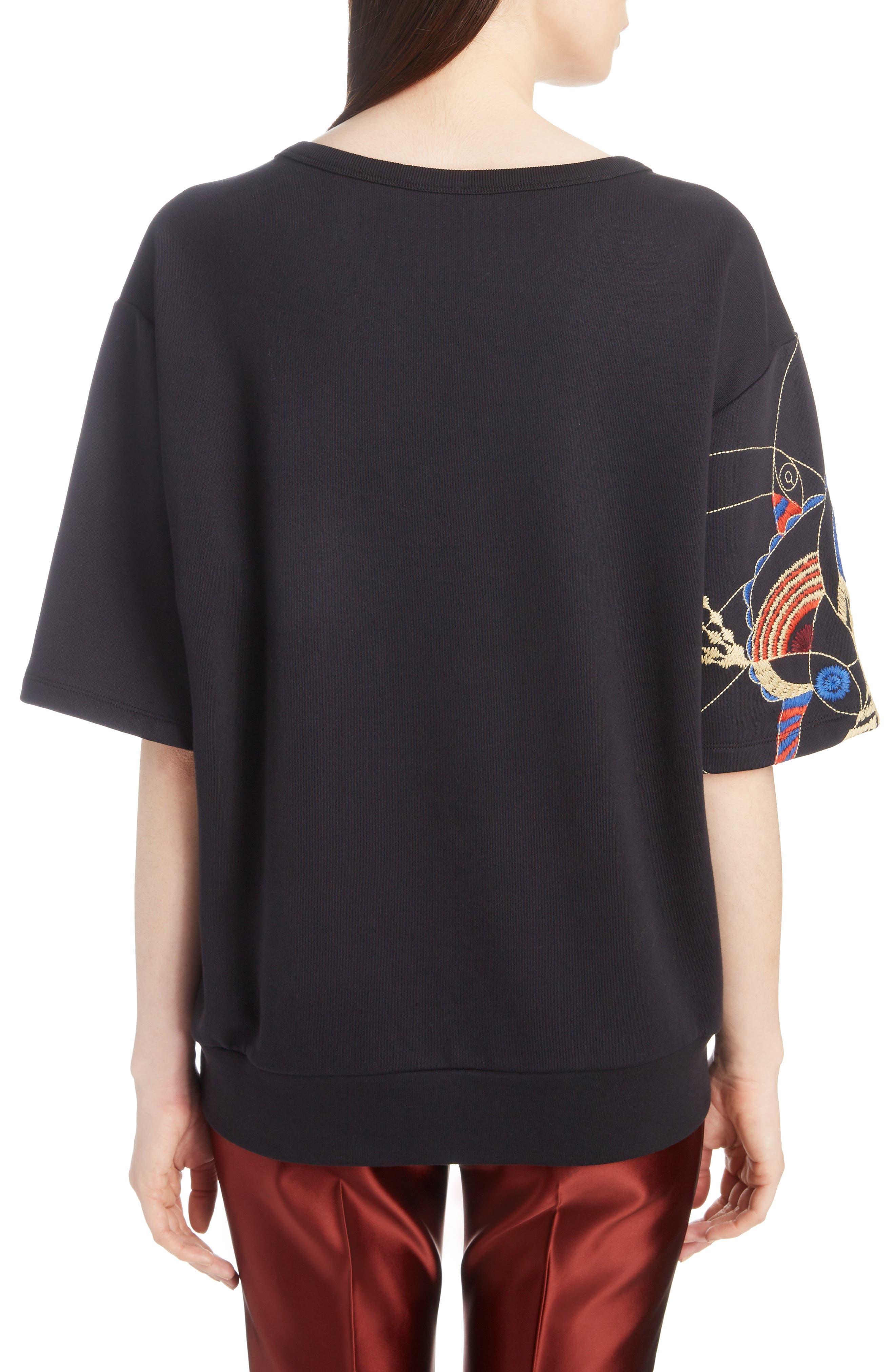 Fan Embroidered Sweatshirt,                             Alternate thumbnail 2, color,                             BLACK
