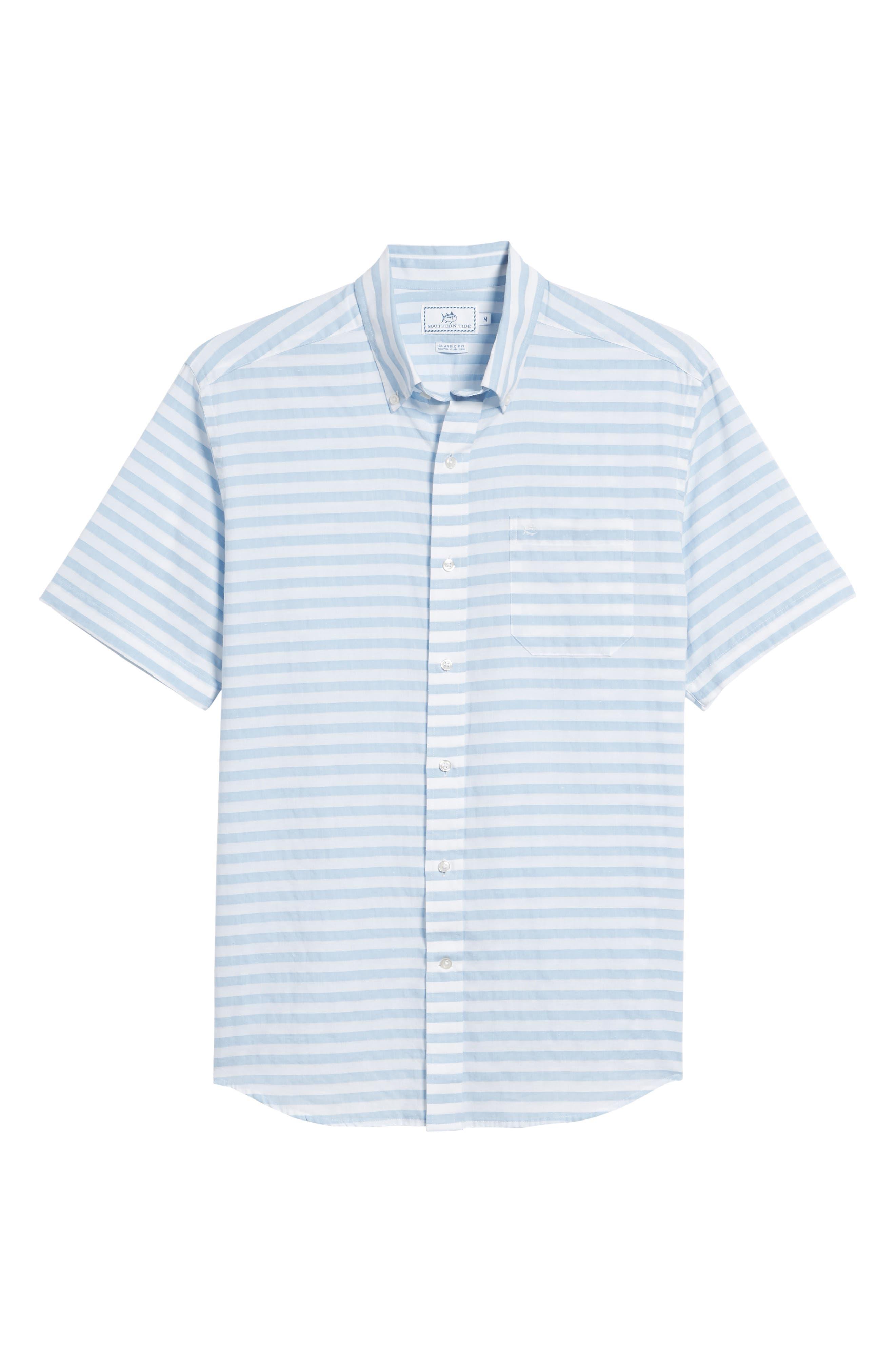 Toe Side Stripe Short Sleeve Sport Shirt,                             Alternate thumbnail 6, color,                             392