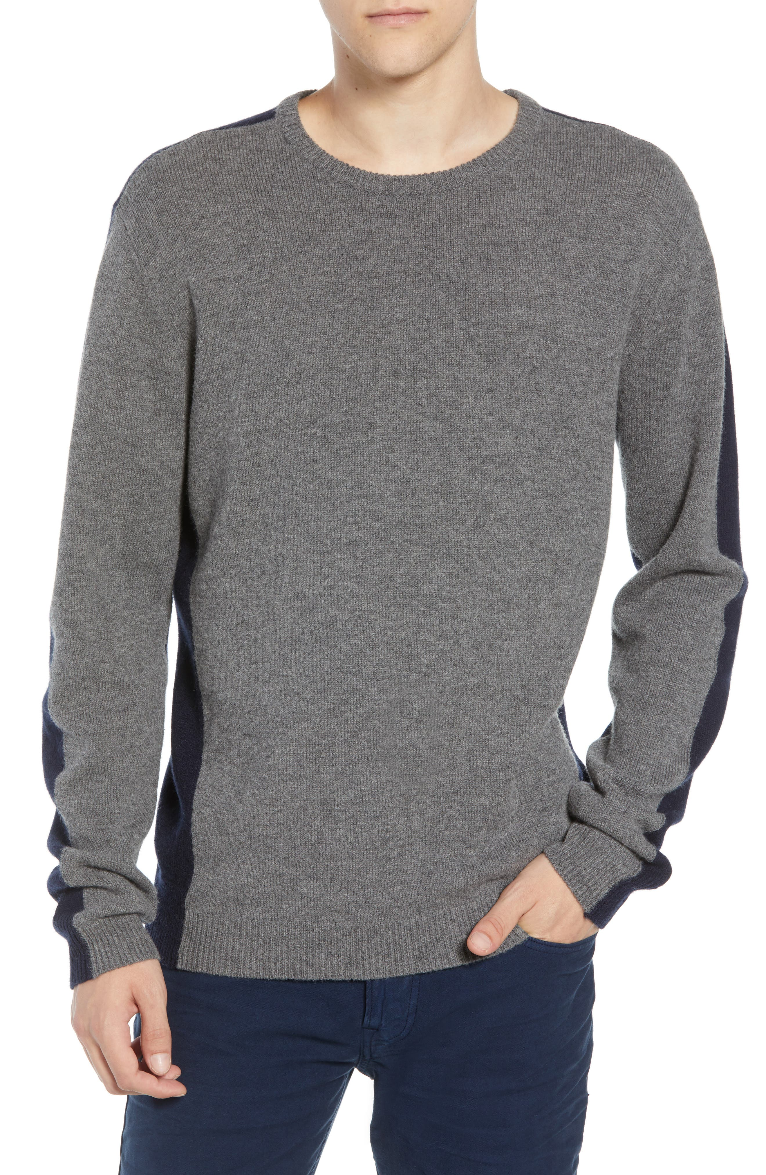 French Connection Colorblock Wool Blend Sweater, Grey
