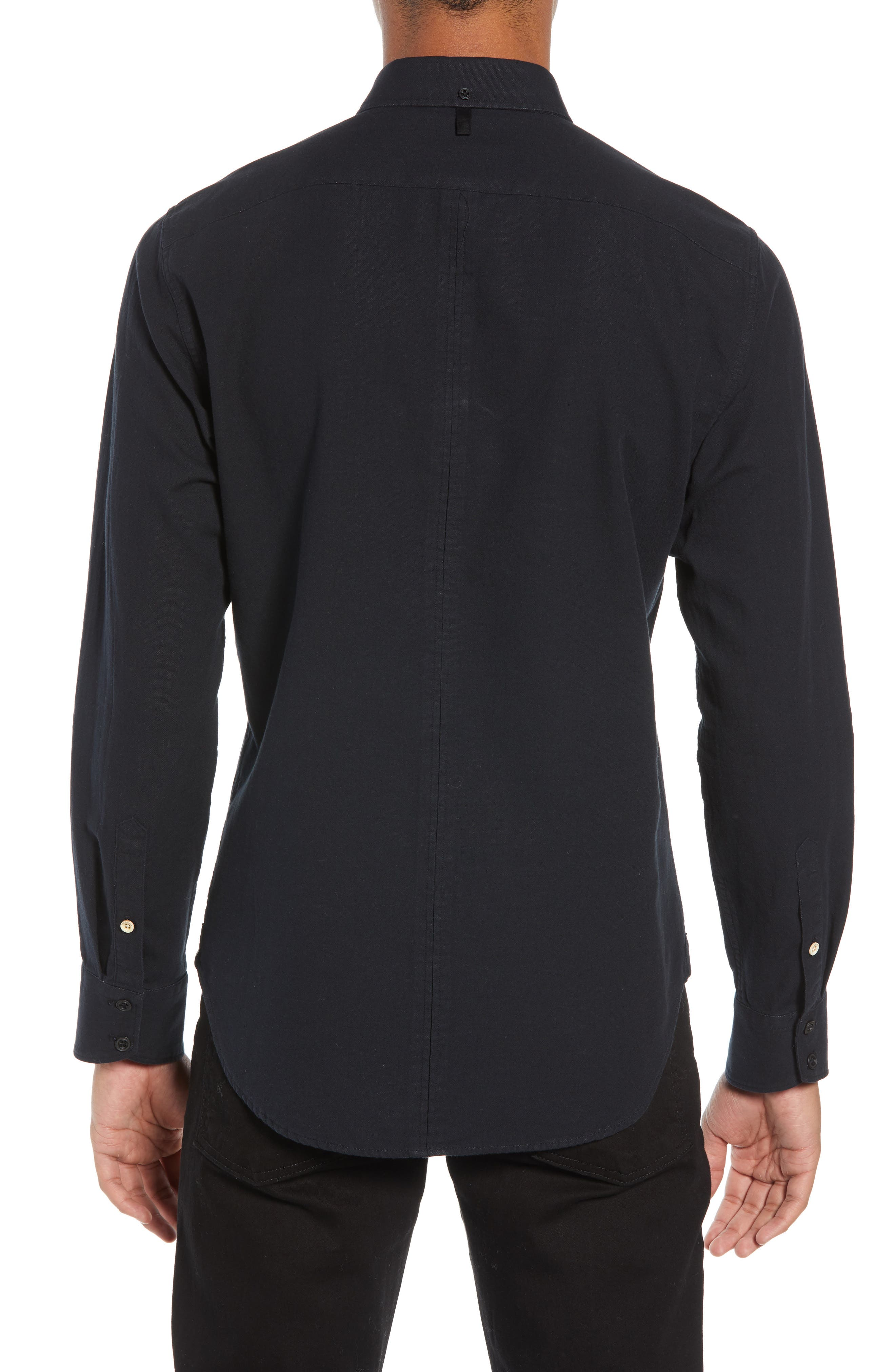 Fit 2 Slim Tomlin Sport Shirt,                             Alternate thumbnail 3, color,                             BLACK/ WHITE