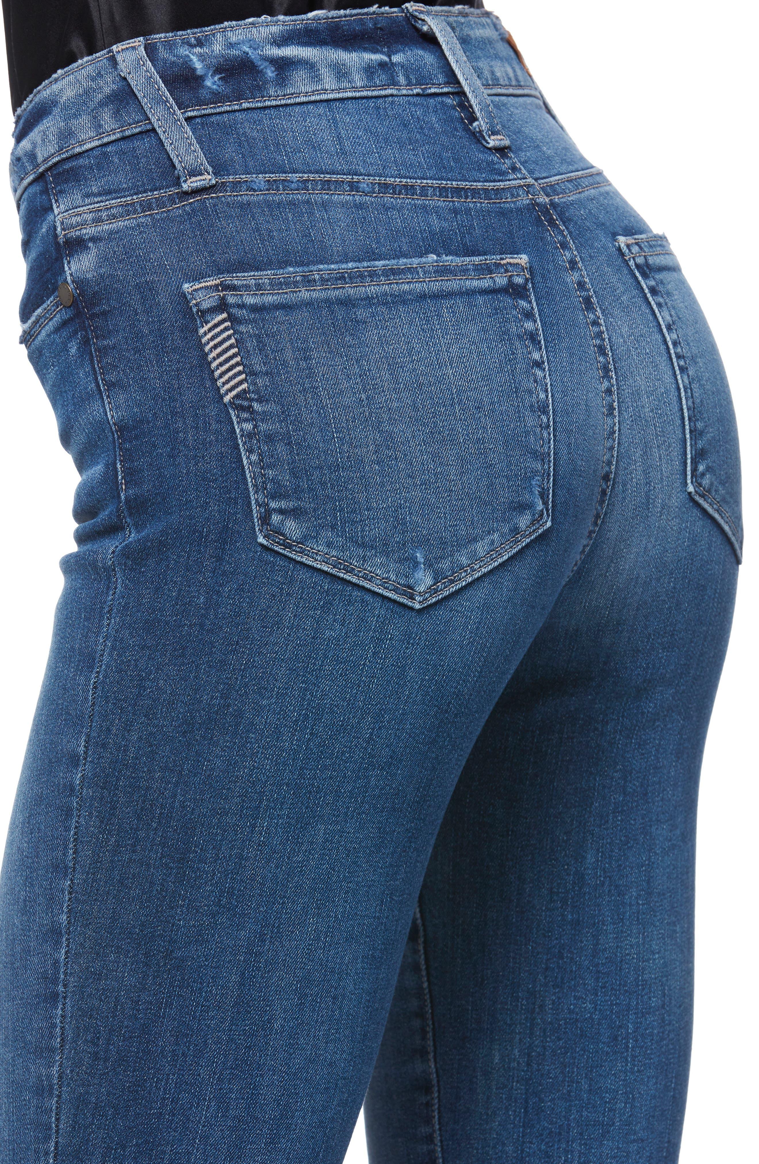 Transcend Vintage - Hoxton High Waist Ankle Straight Leg Jeans,                             Alternate thumbnail 4, color,                             MALIBU