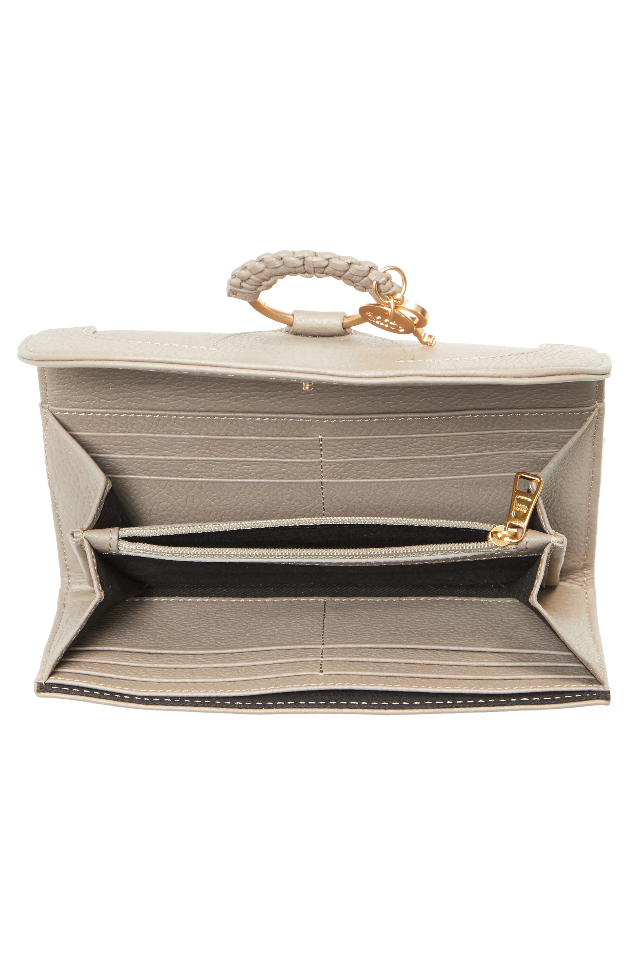 Hana Large Leather Wallet,                             Alternate thumbnail 3, color,                             MOTTY GREY