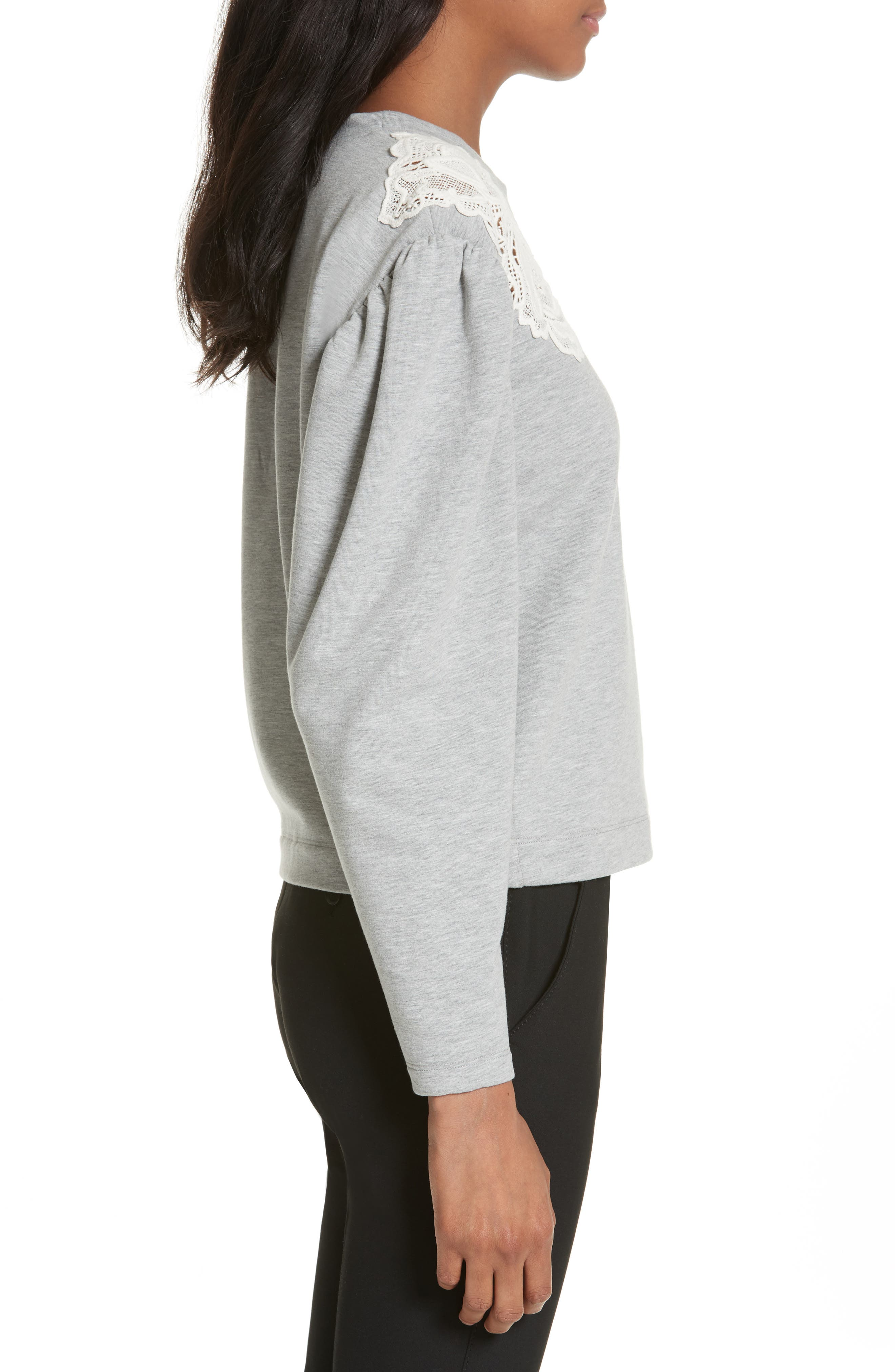 Lace Inset Sweatshirt,                             Alternate thumbnail 3, color,                             021