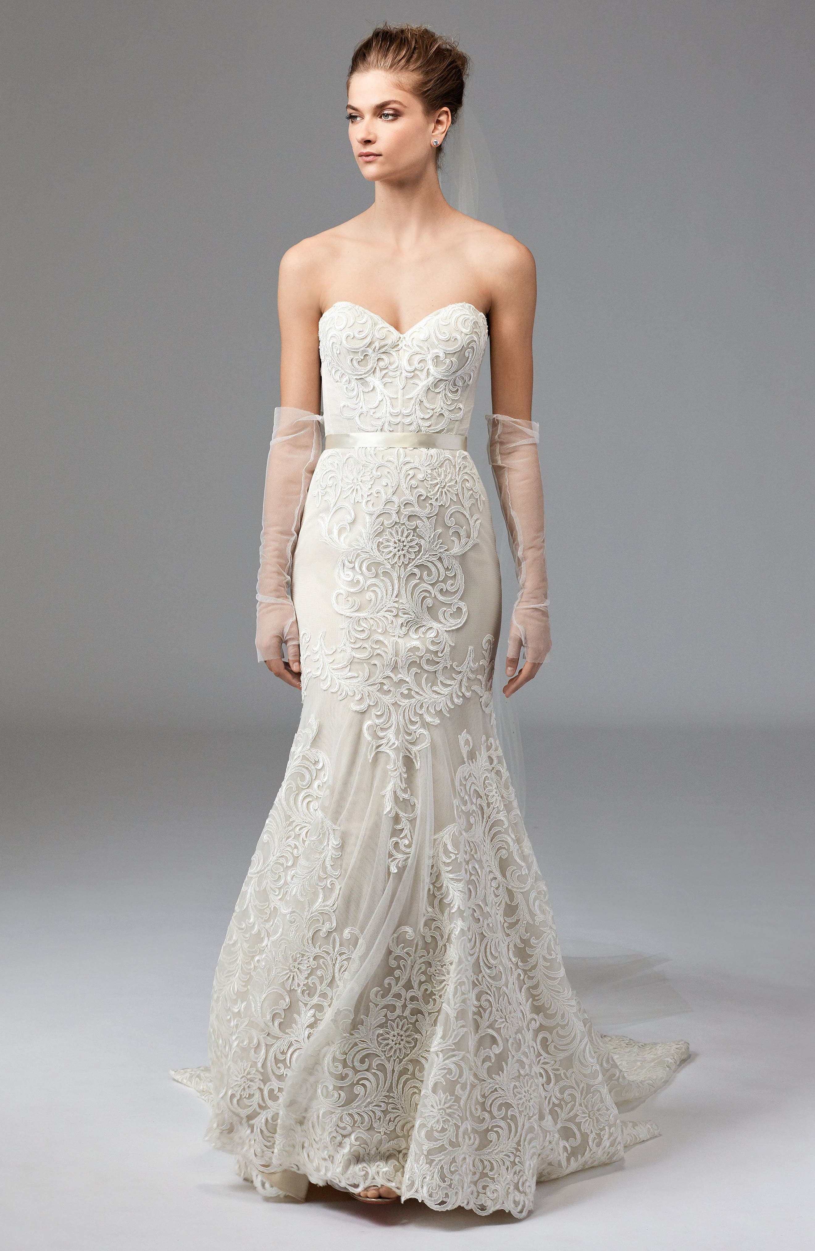 Alice Embroidered Strapless Trumpet Gown,                             Alternate thumbnail 4, color,                             IVORY/CHAMPAGNE/VANILLA BEAN