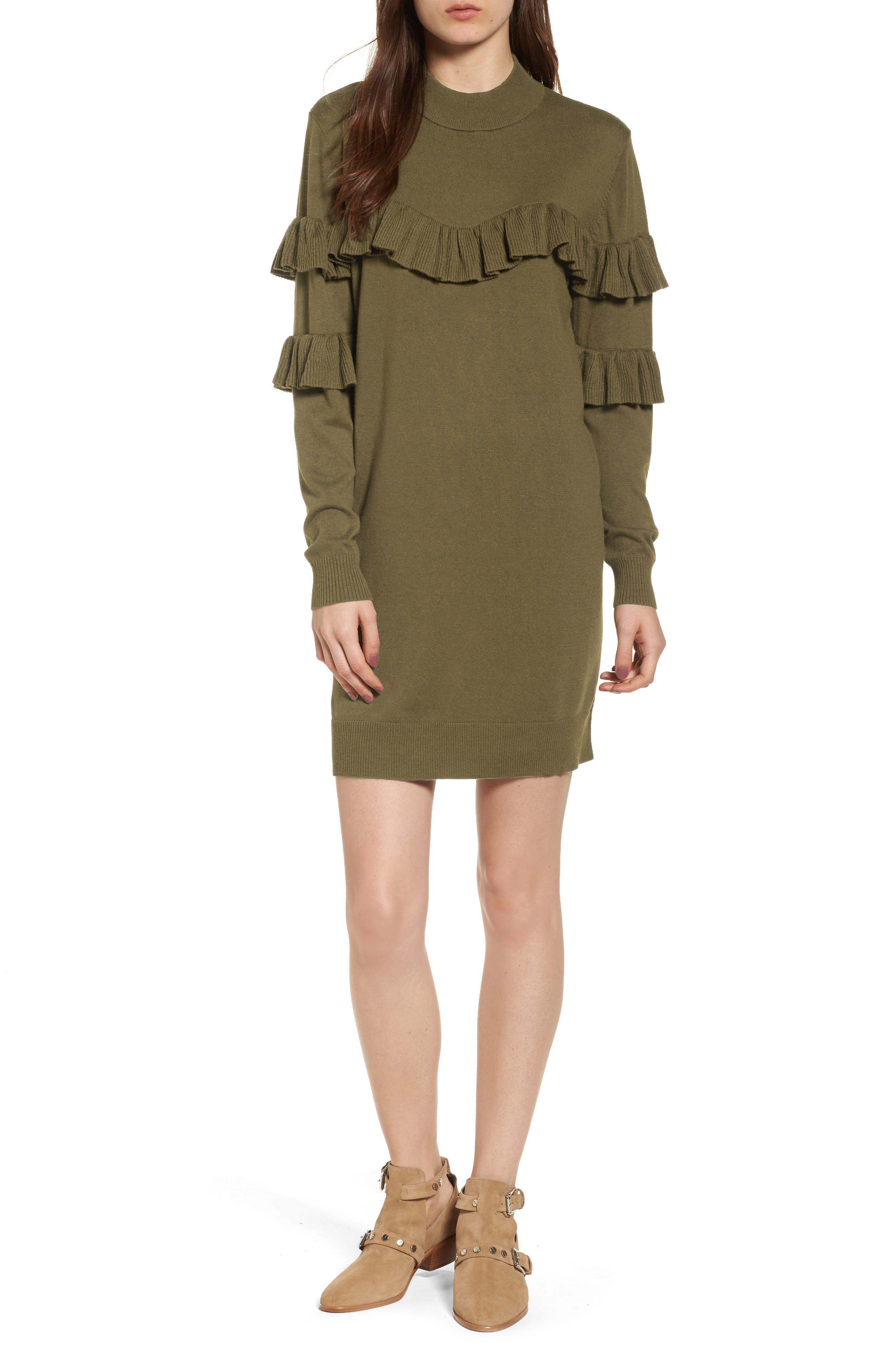 Ruffle Sweater Dress,                             Main thumbnail 1, color,