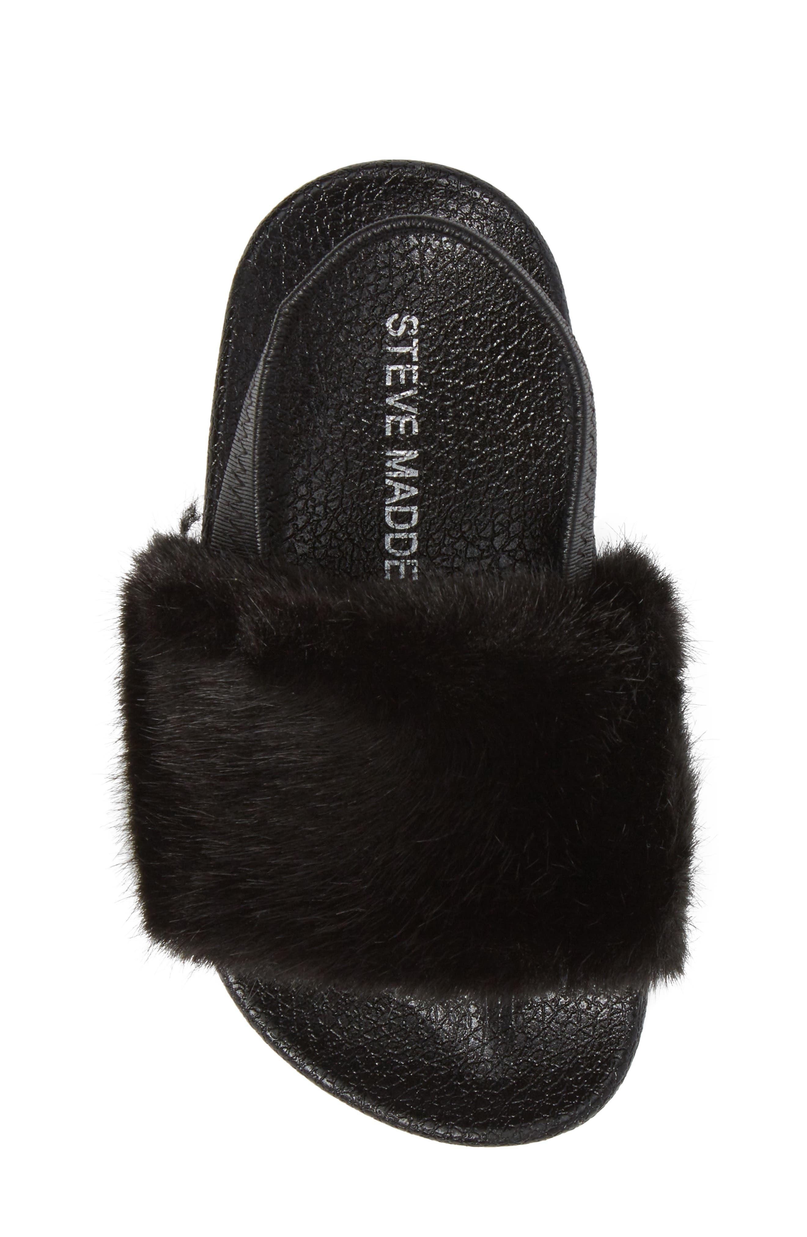 Tsoftey Faux Fur Slide Sandal,                             Alternate thumbnail 5, color,                             006
