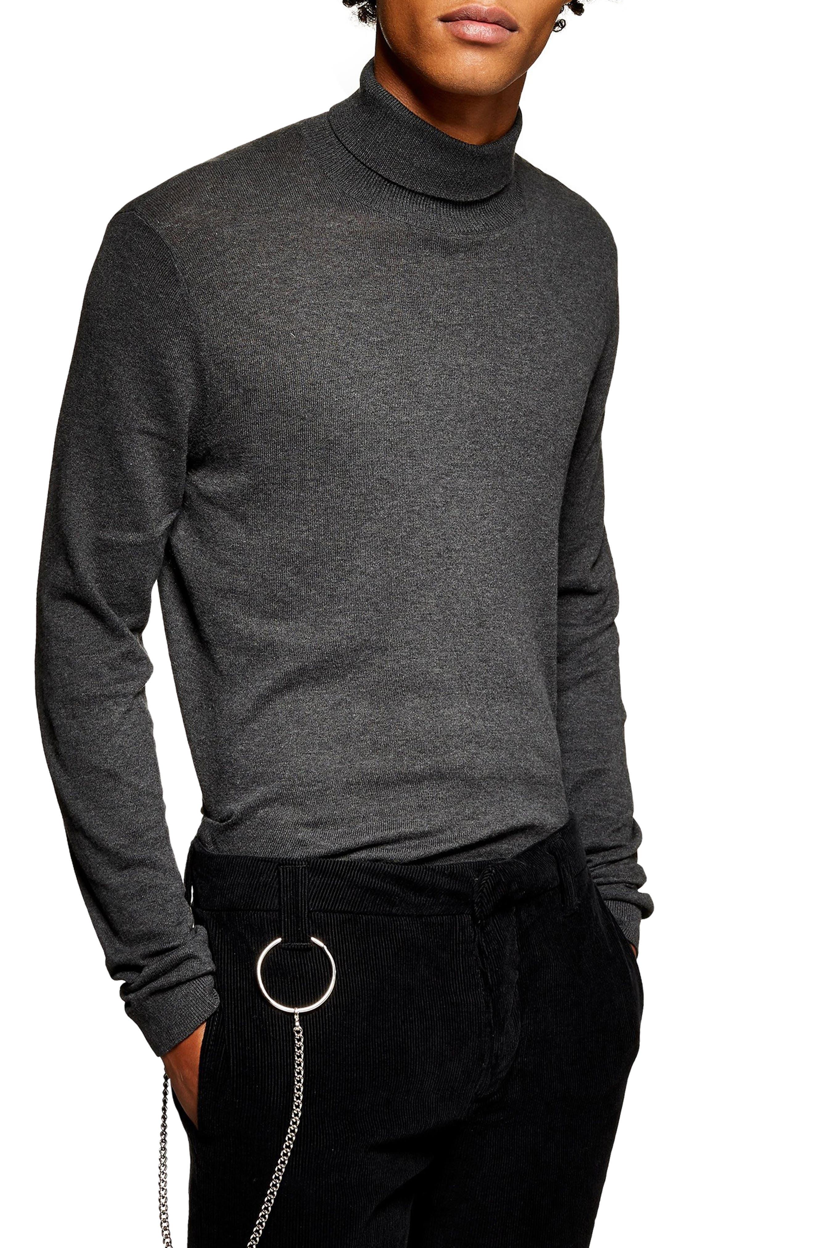 Classic Fit Turtleneck Sweater,                         Main,                         color, DARK GREY
