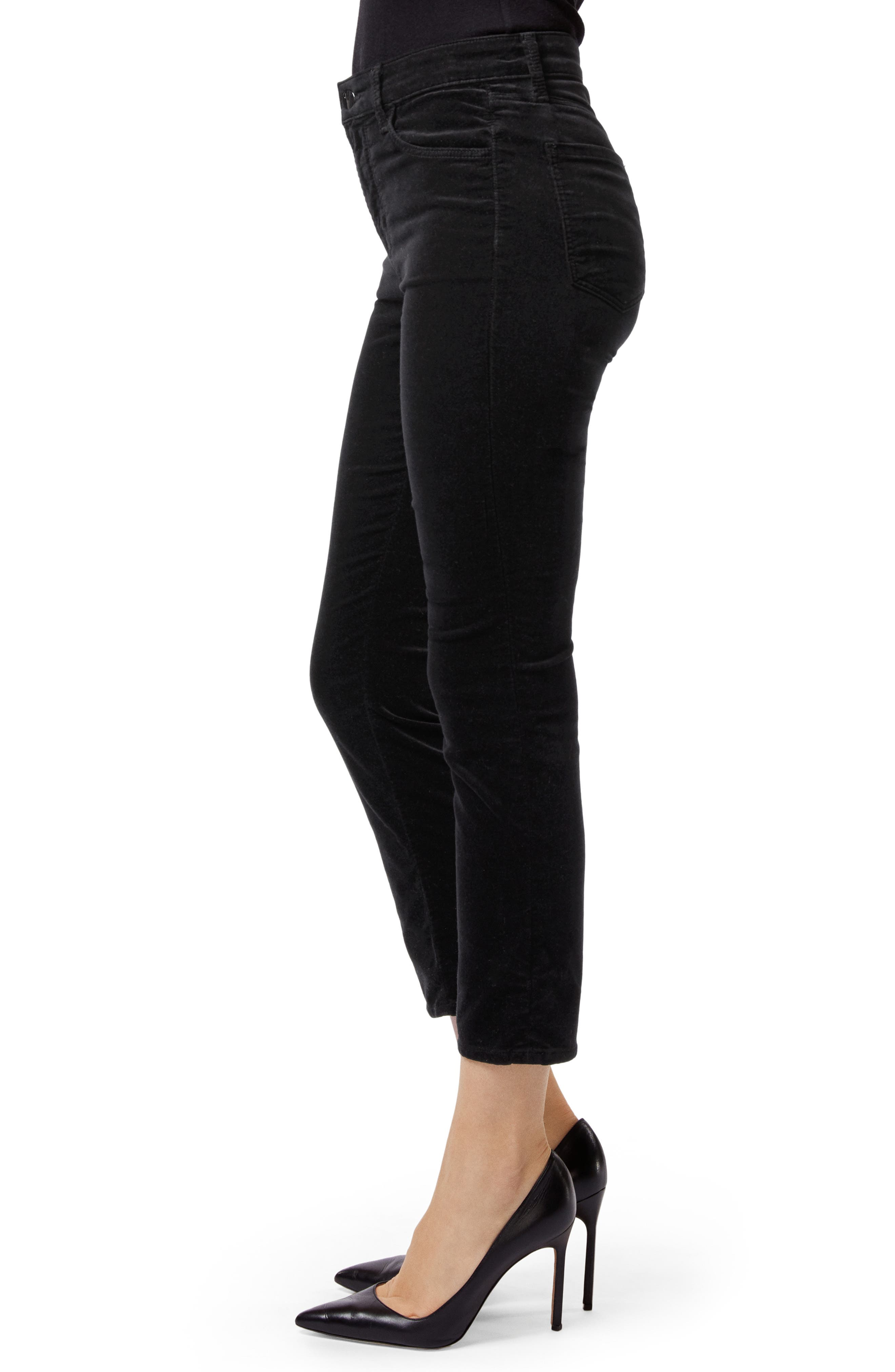 Ruby High Waist Crop Velvet Pants,                             Alternate thumbnail 3, color,                             001
