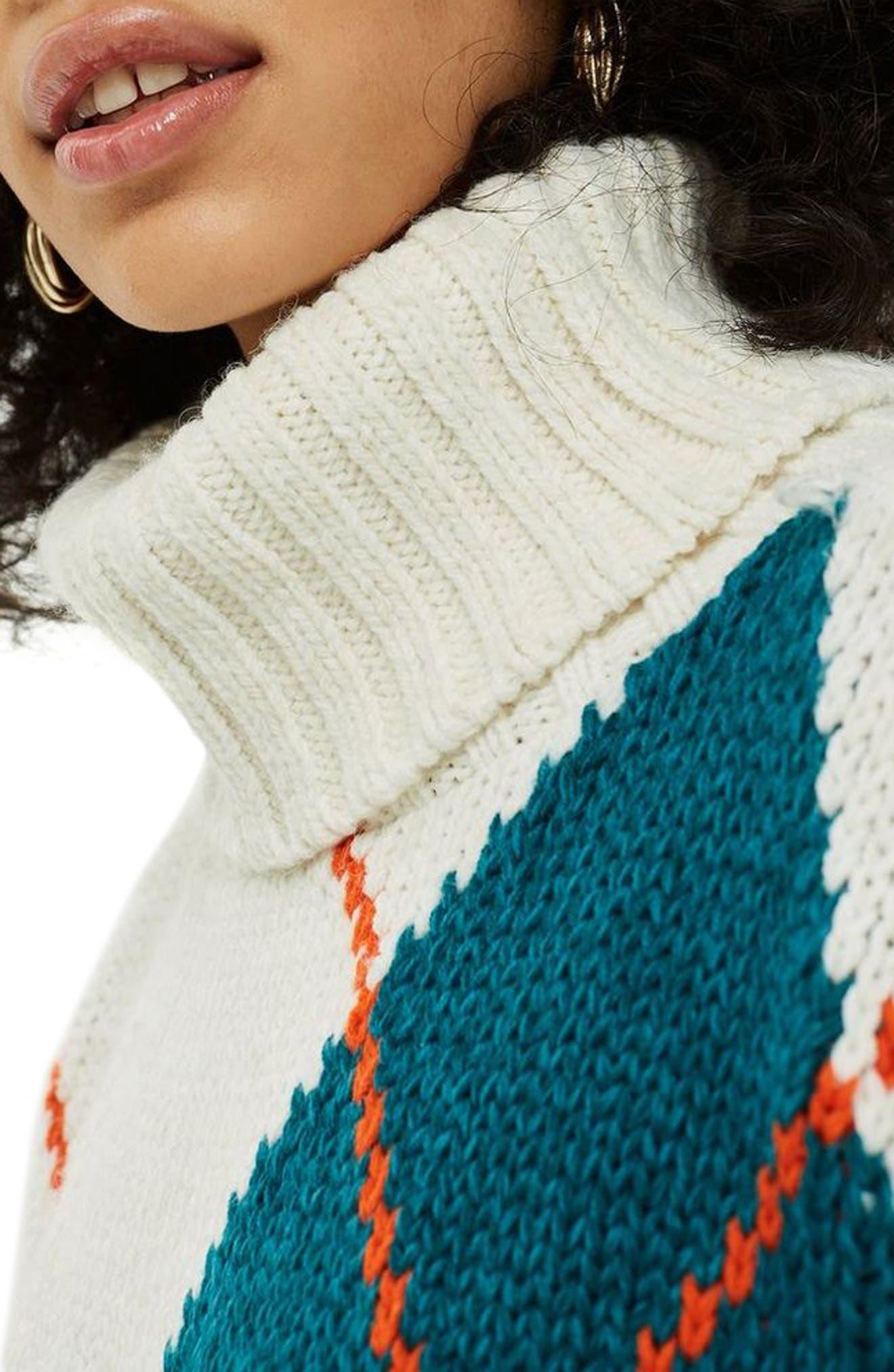 Oversized Argyle Turtleneck Sweater,                             Alternate thumbnail 3, color,                             IVORY MULTI