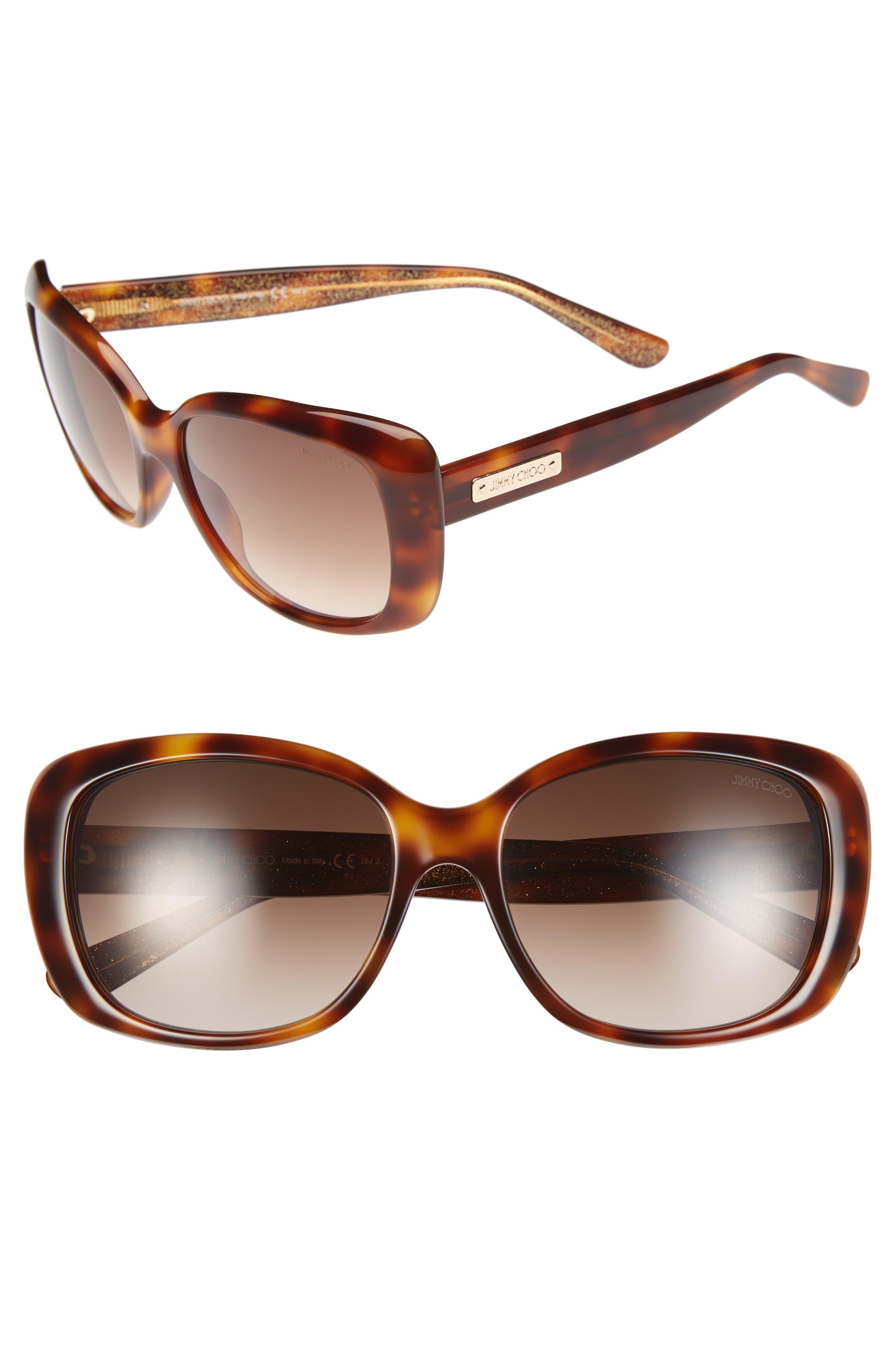 56mm Sunglasses,                             Alternate thumbnail 3, color,                             HAVANA