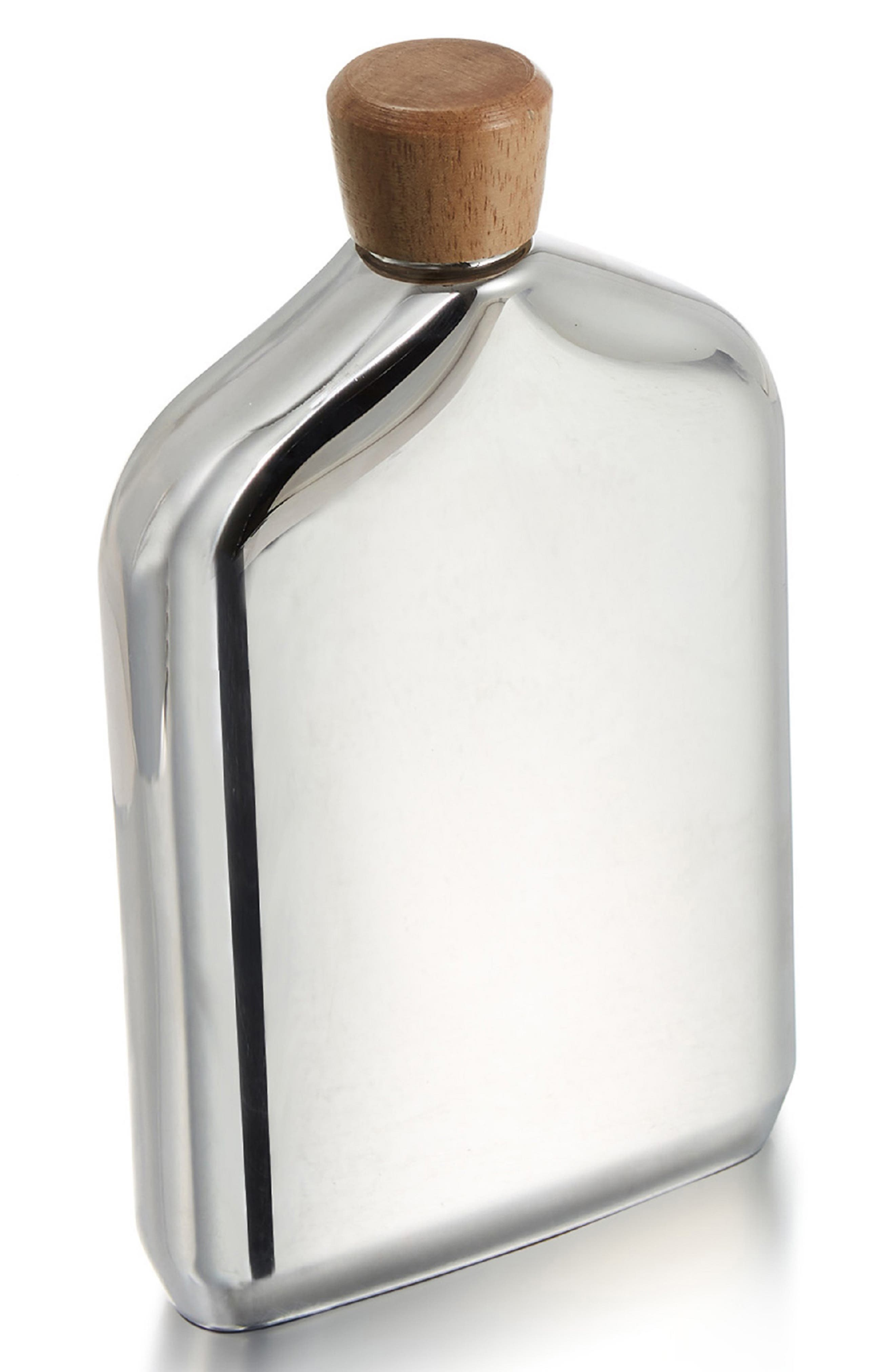 Vie Stainless Steel Flask,                             Main thumbnail 1, color,                             METALLIC SILVER