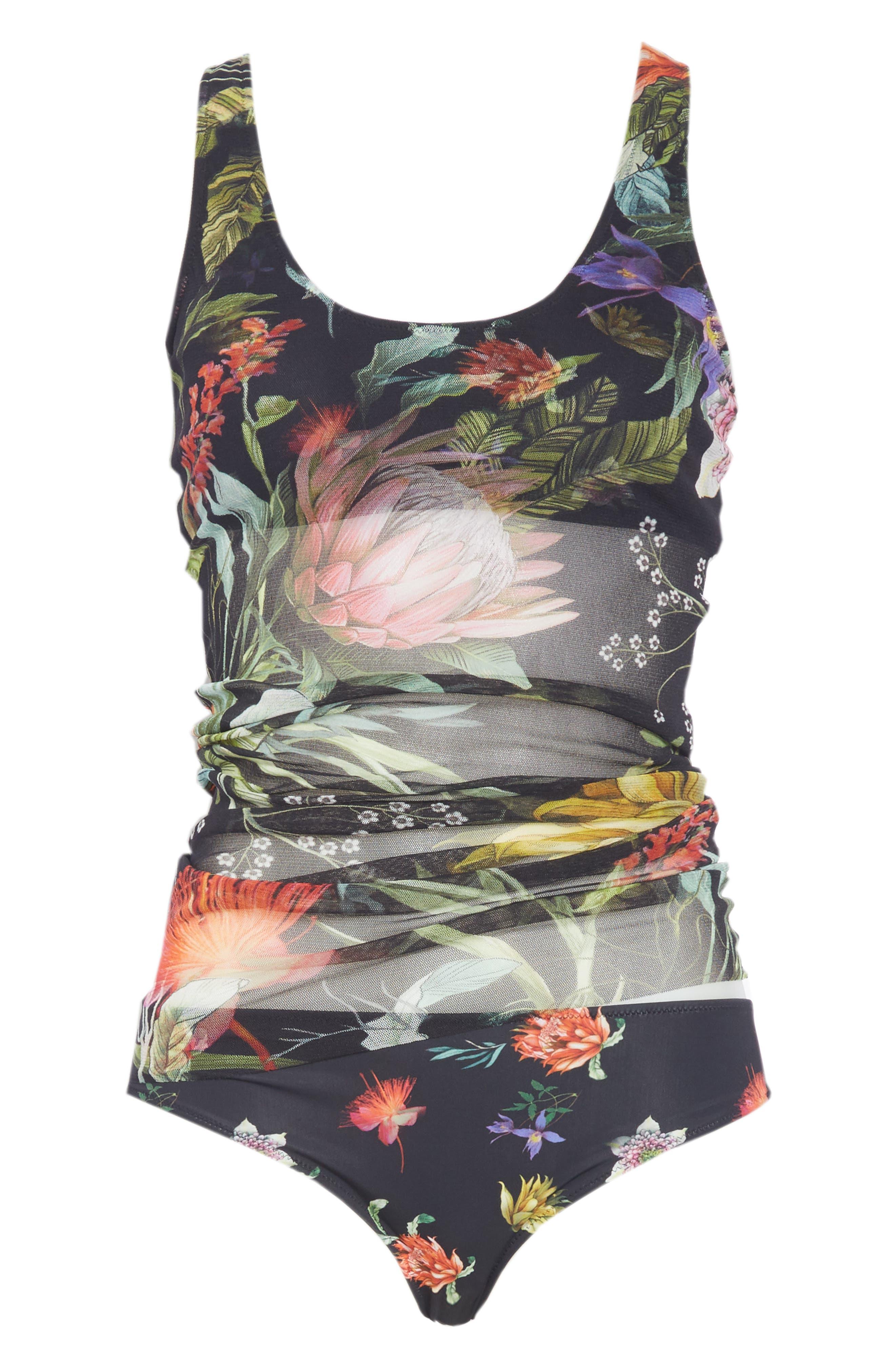 Print Tulle Two-Piece Tankini Swimsuit,                             Alternate thumbnail 6, color,                             NERO