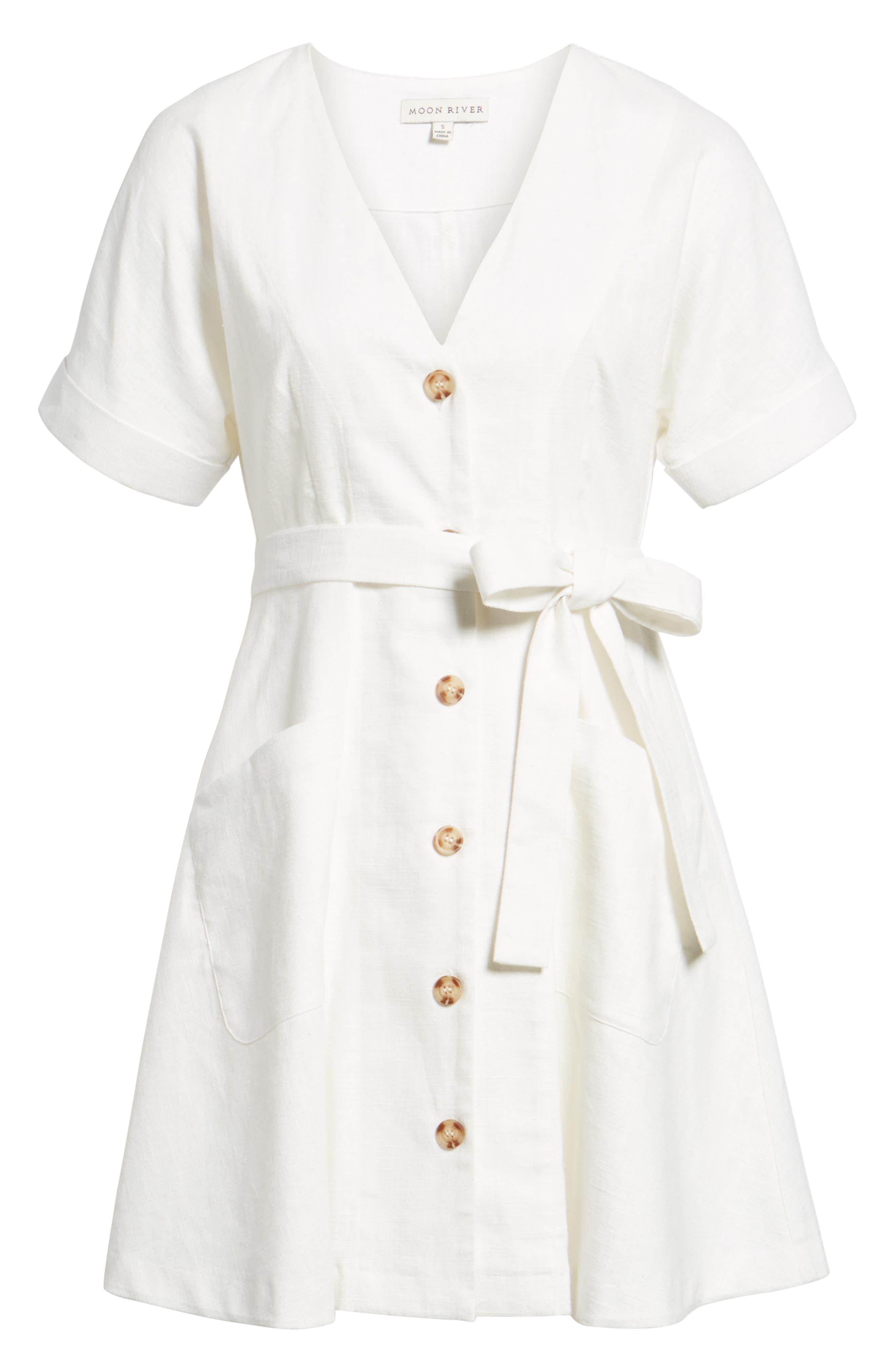 Linen & Cotton Button Front Dress,                             Alternate thumbnail 6, color,                             100