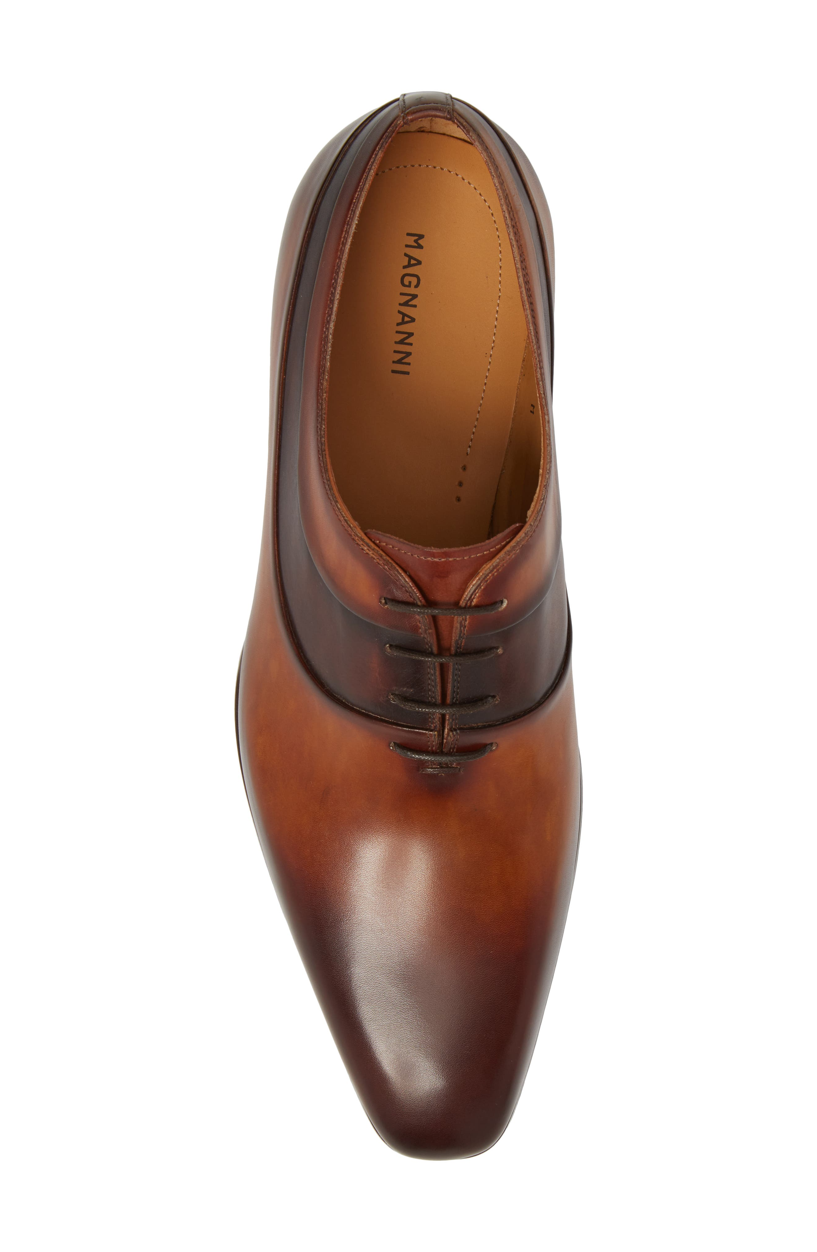 Miles Plain Toe Oxford,                             Alternate thumbnail 5, color,                             BROWN LEATHER
