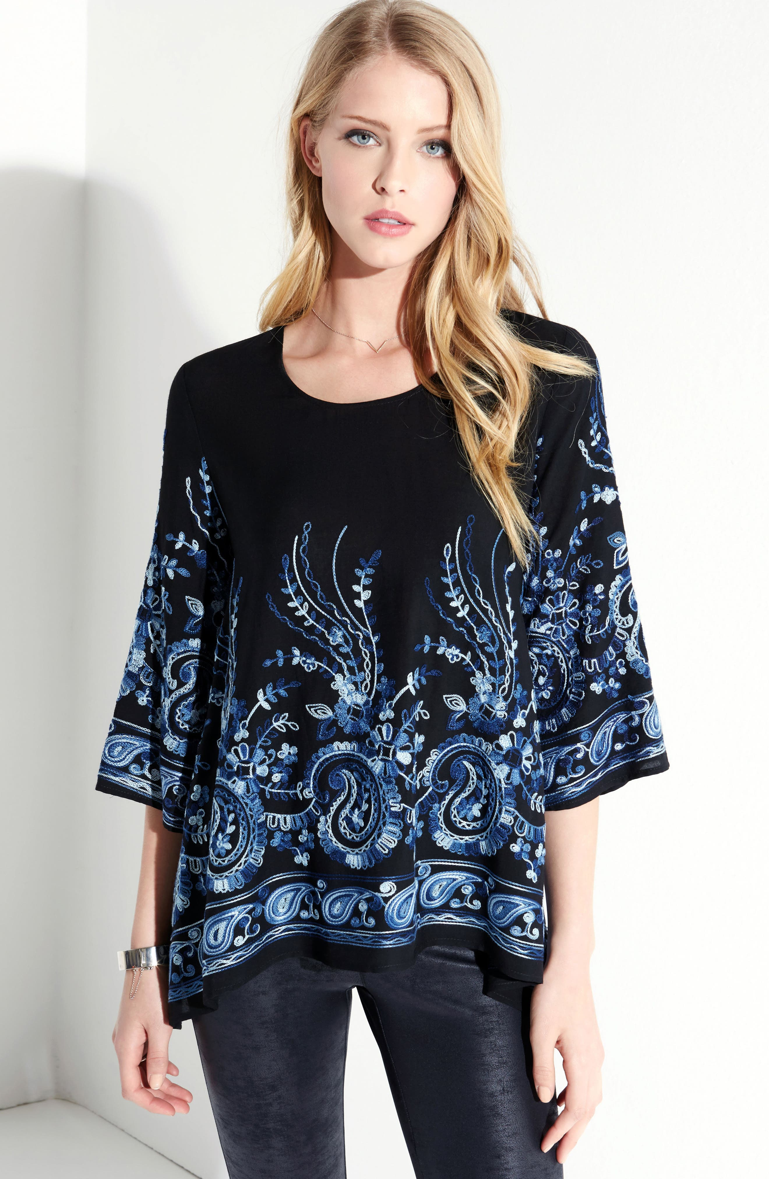 Paisley Embroidery Top,                             Alternate thumbnail 3, color,                             400